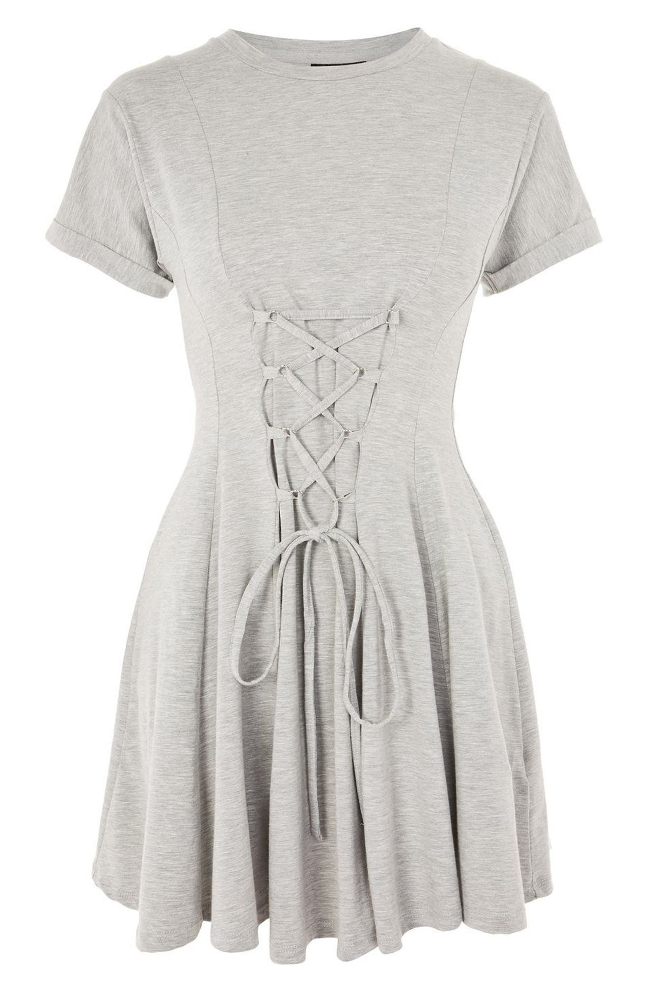 Corset Front Flippy Tunic Dress,                             Alternate thumbnail 10, color,