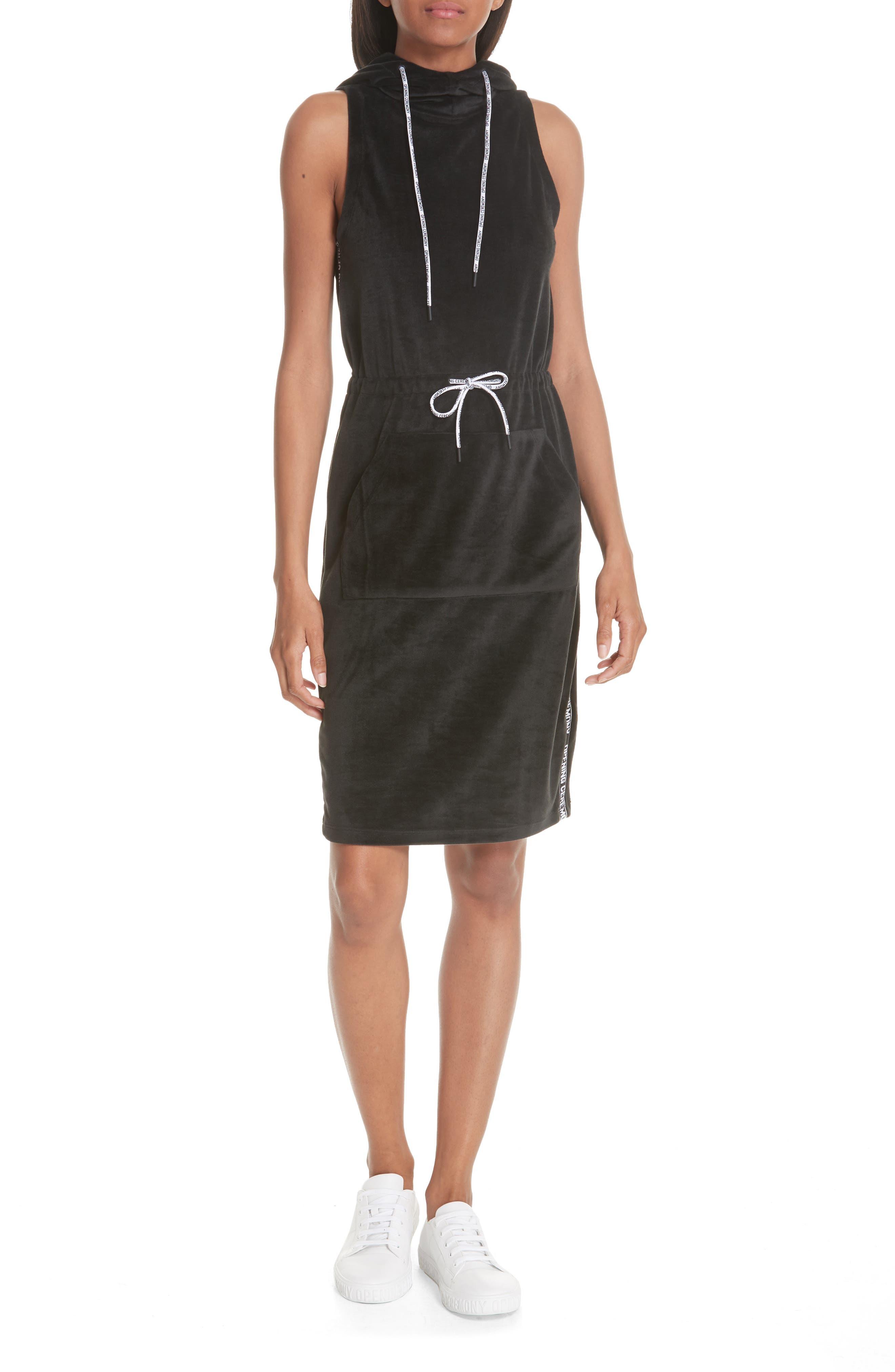 Velour Hoodie Dress,                         Main,                         color, BLACK