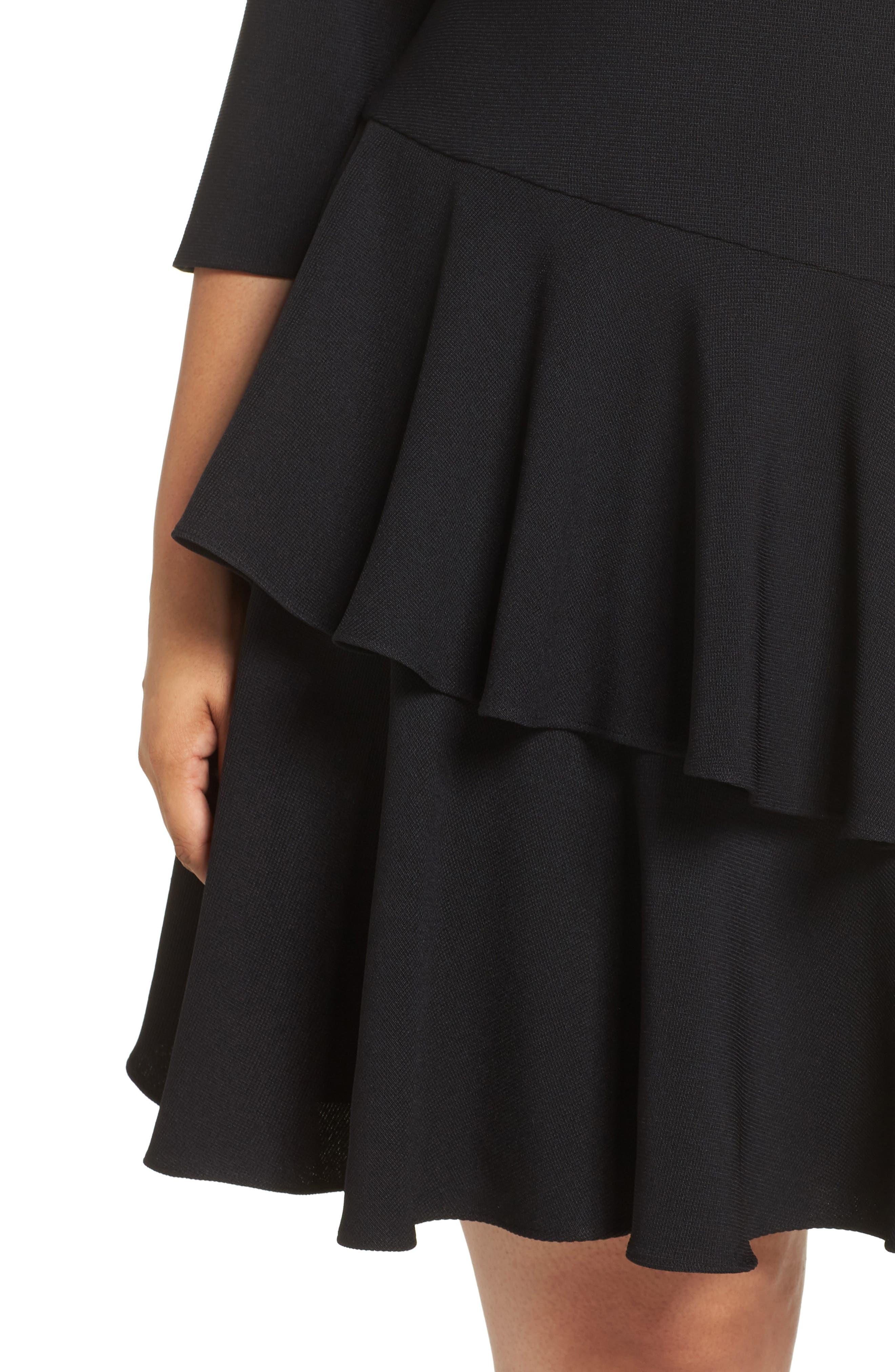 Ruffle Tiered Shift Dress,                             Alternate thumbnail 4, color,                             BLACK