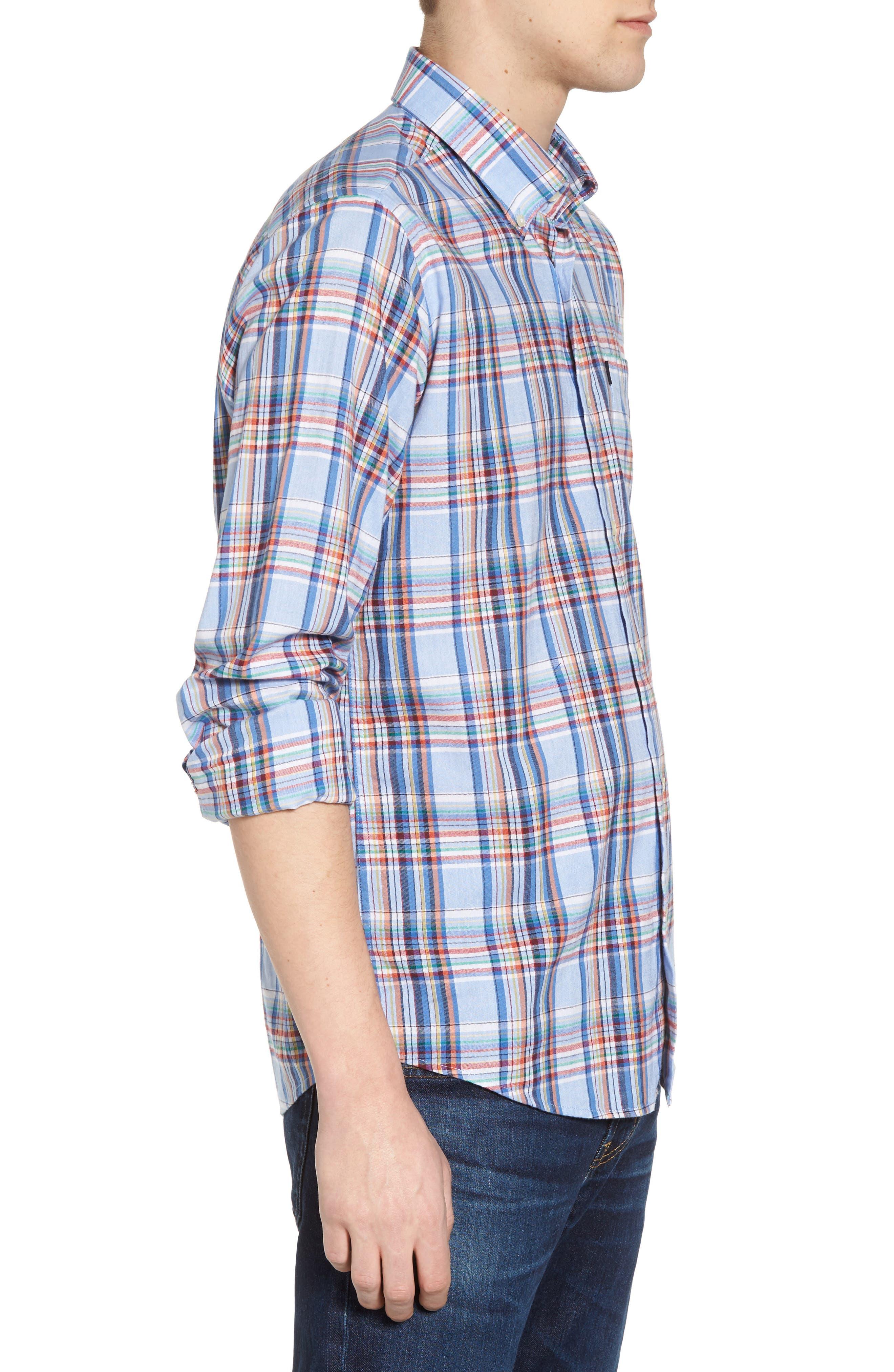 Bram Trim Fit Plaid Sport Shirt,                             Alternate thumbnail 3, color,                             450