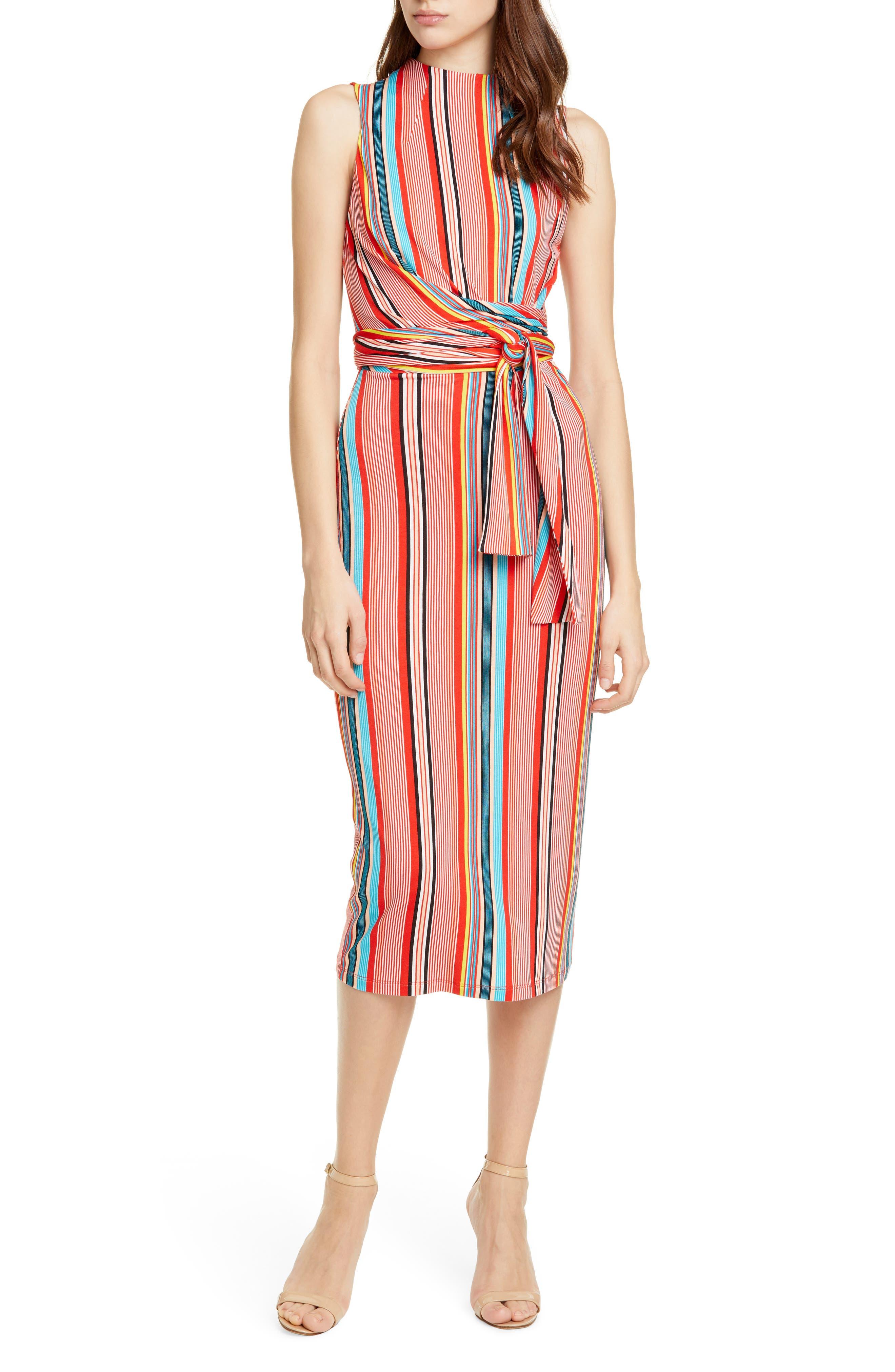 Alice + Olivia Delora Stripe Tie Waist Dress, Coral
