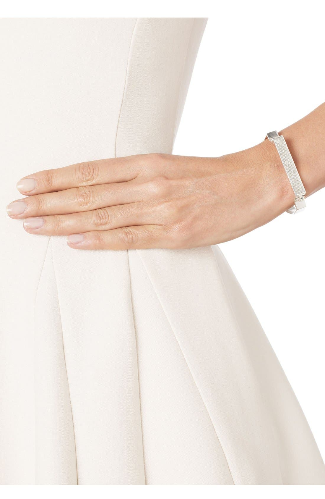 MONICA VINADER Signature Petite Diamond Bangle, Main, color, SILVER/ DIAMOND