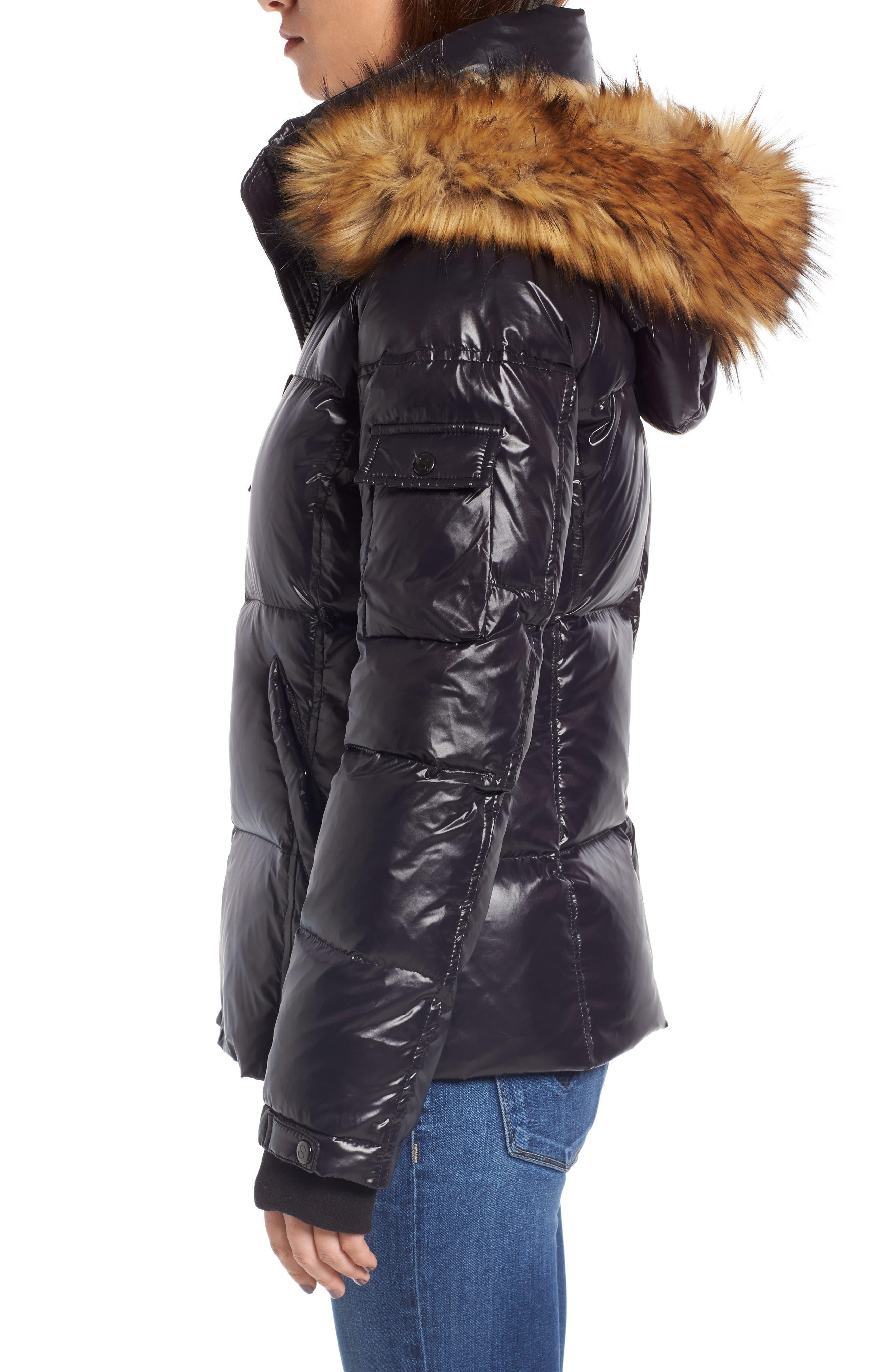 Kylie Faux Fur Trim Gloss Puffer Jacket,                             Alternate thumbnail 17, color,