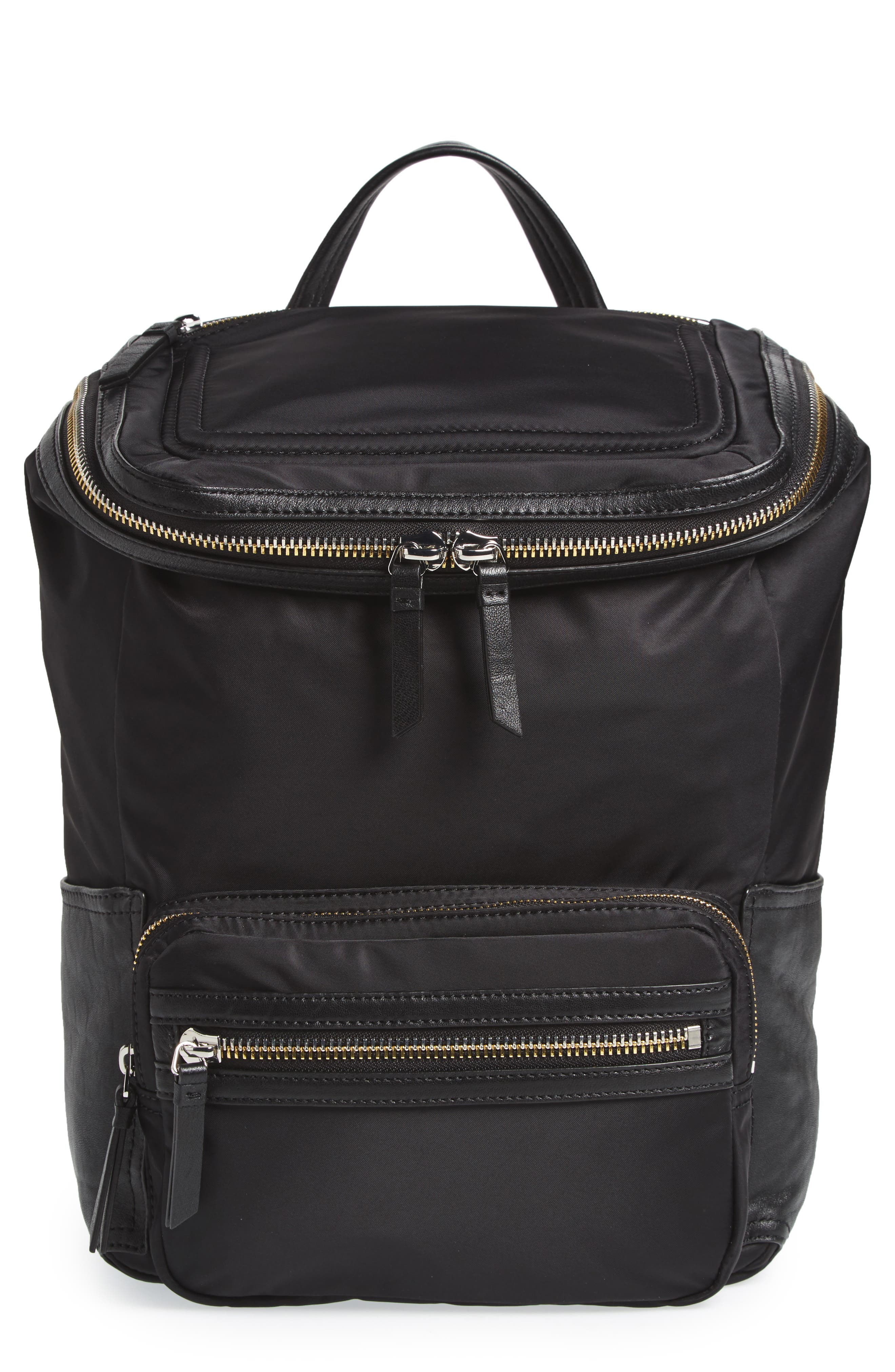 Patch NYL Leather & Nylon Backpack,                             Main thumbnail 1, color,                             002