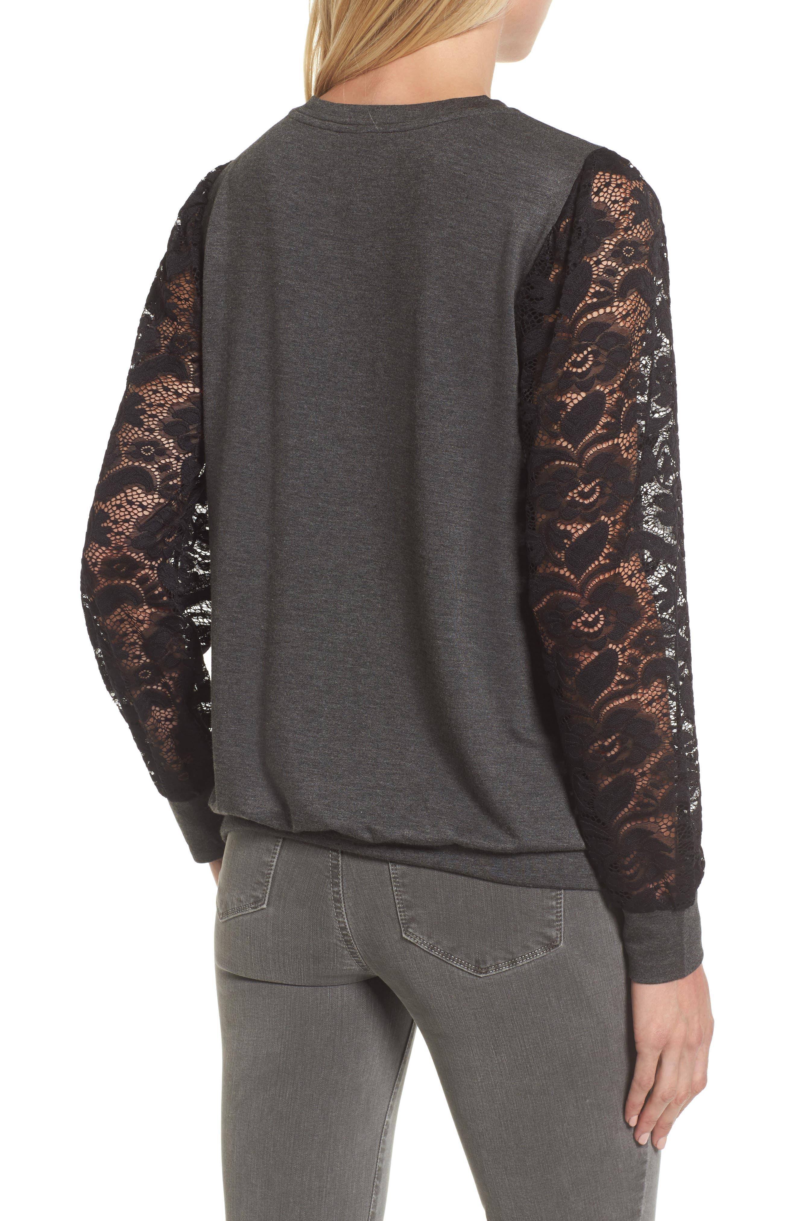 Lace Sleeve Sweatshirt,                             Alternate thumbnail 6, color,