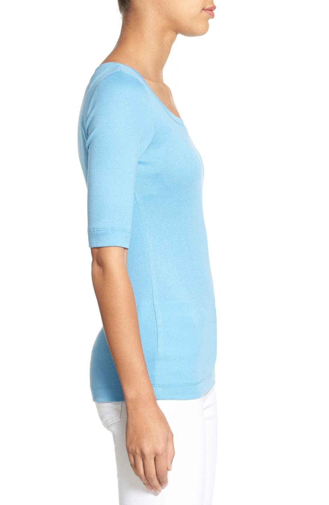 Ballet Neck Cotton & Modal Knit Elbow Sleeve Tee,                             Alternate thumbnail 131, color,