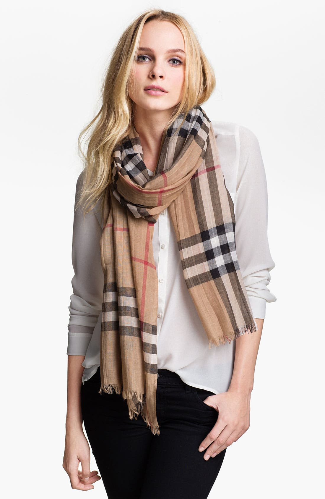 Giant Check Print Wool & Silk Scarf,                             Alternate thumbnail 153, color,