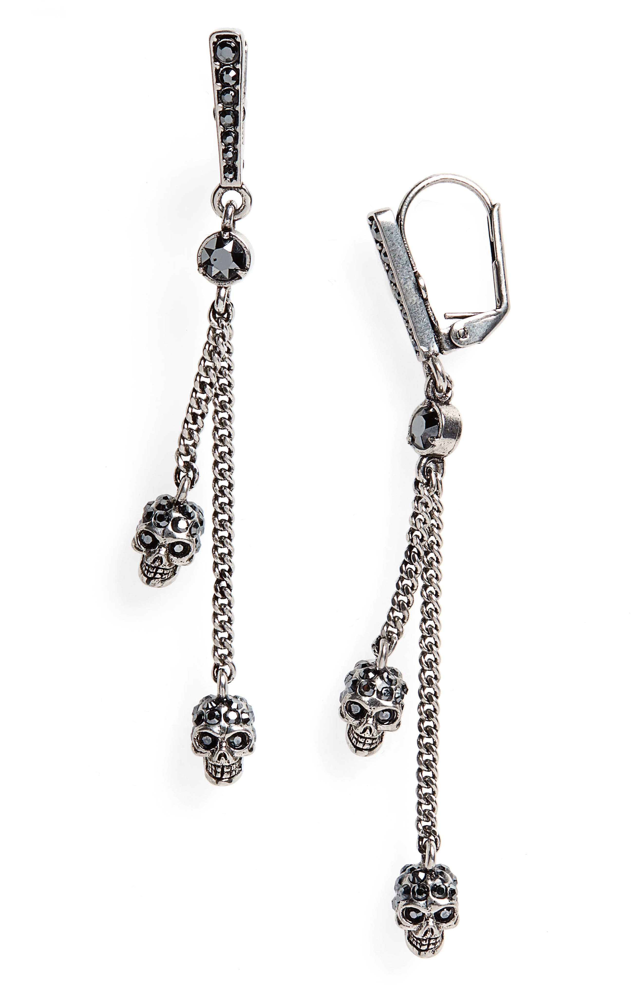 ALEXANDER MCQUEEN Thin Chain Earrings, Main, color, HEMATITE