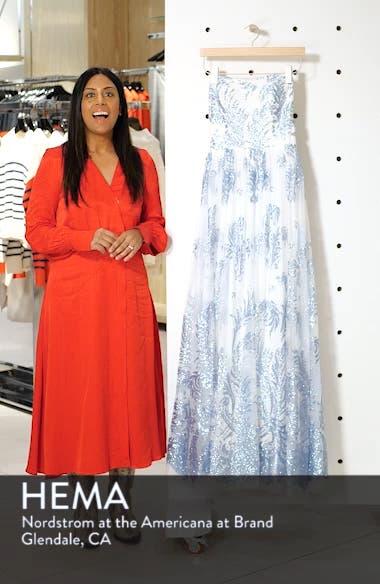 Strapless Glitter Mesh Evening Dress, sales video thumbnail