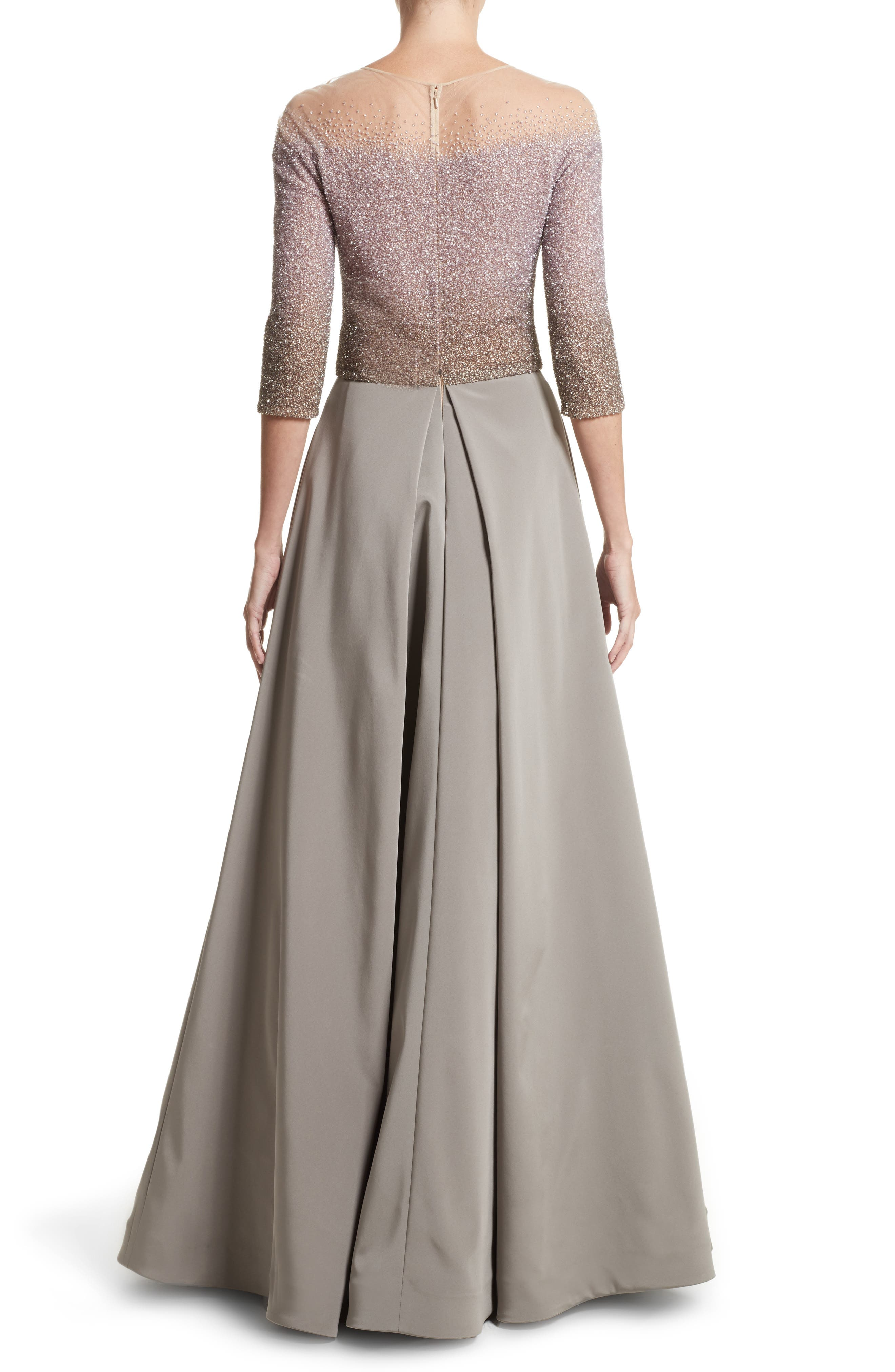 Illusion Sequin & Faille A-Line Gown,                             Alternate thumbnail 2, color,                             244