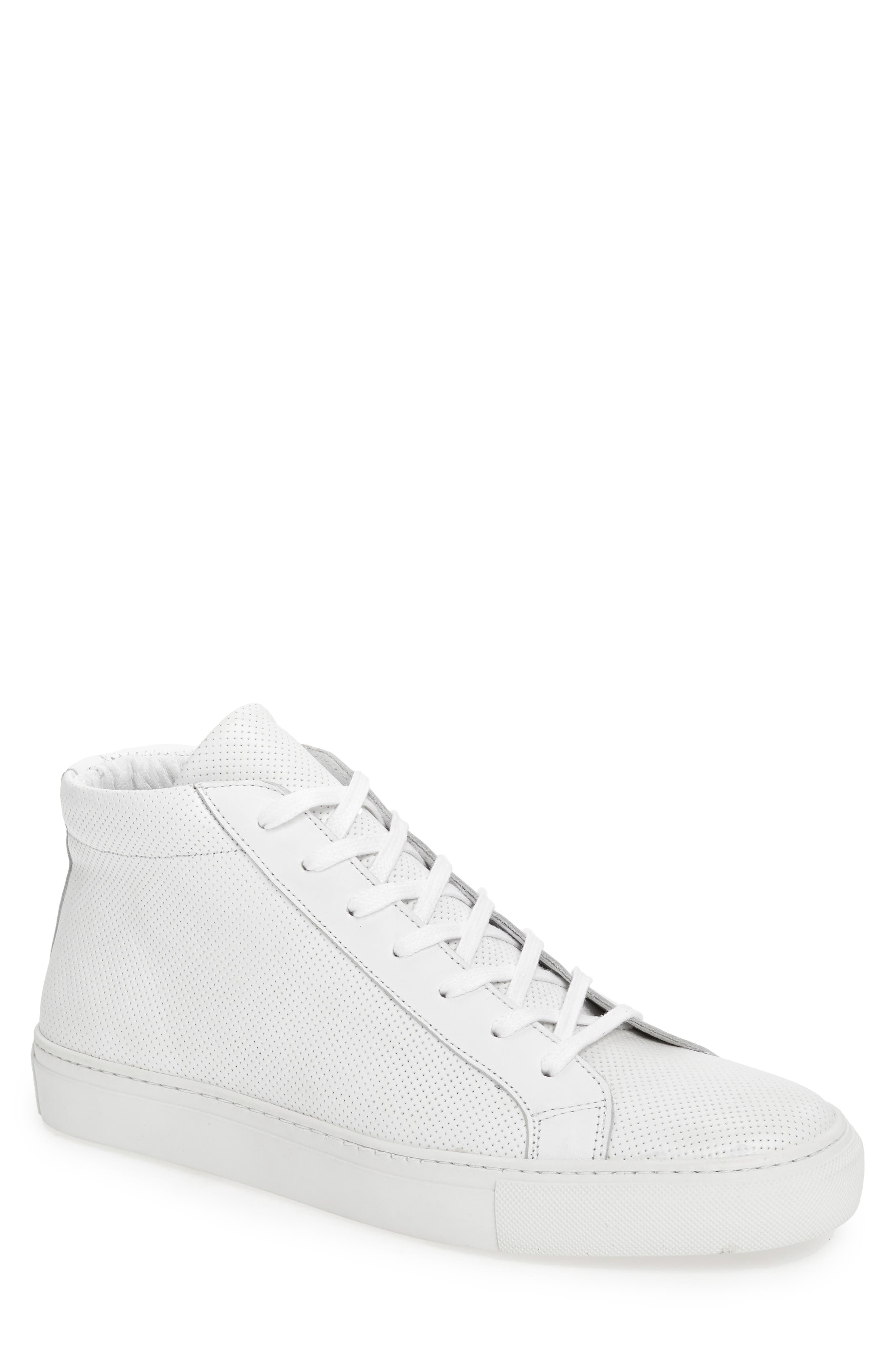 Deacon Mid Sneaker,                         Main,                         color, WHITE PERFORATED LEATHER