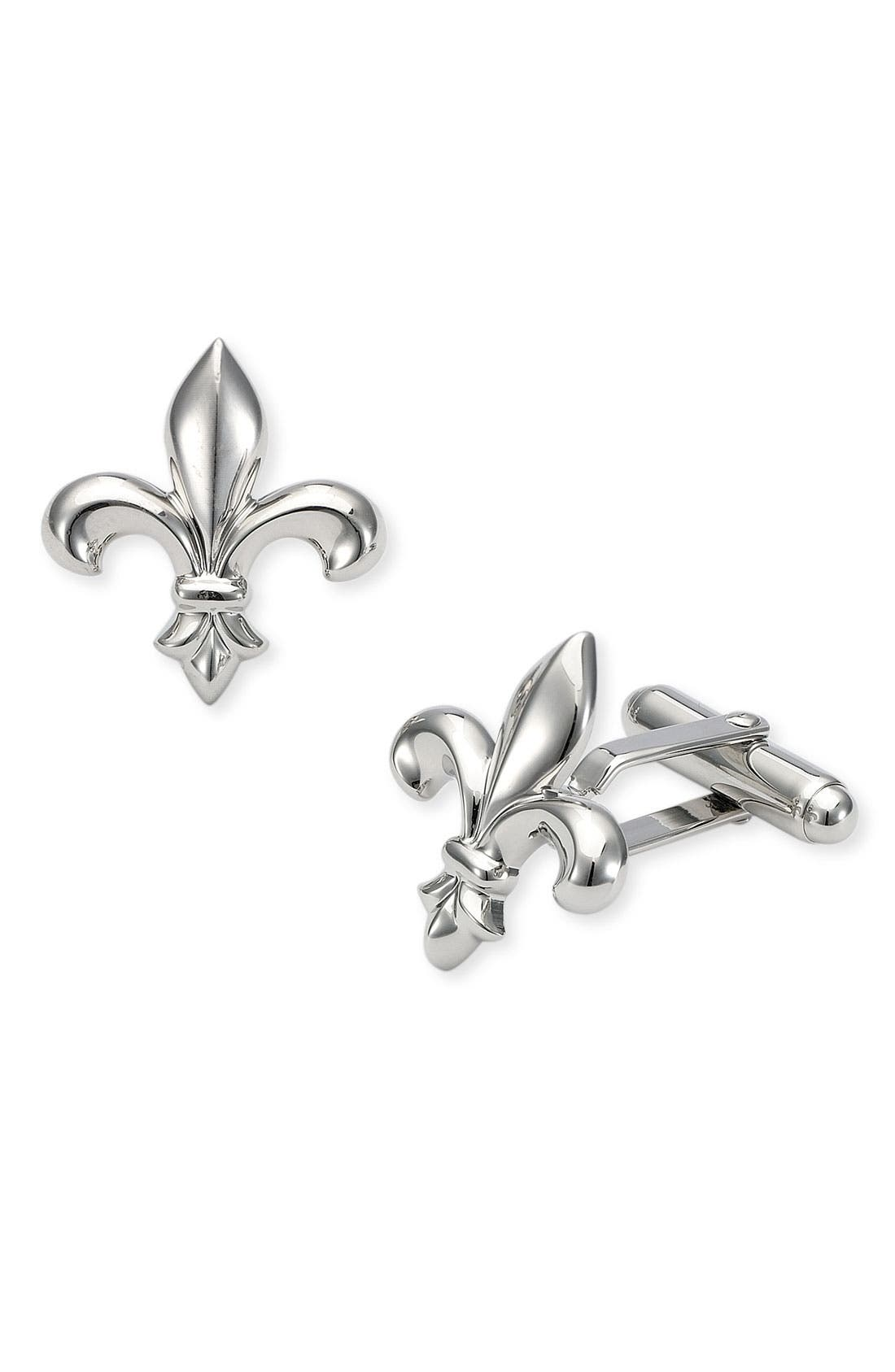 Fleur de Lis Cuff Links,                         Main,                         color, SILVER