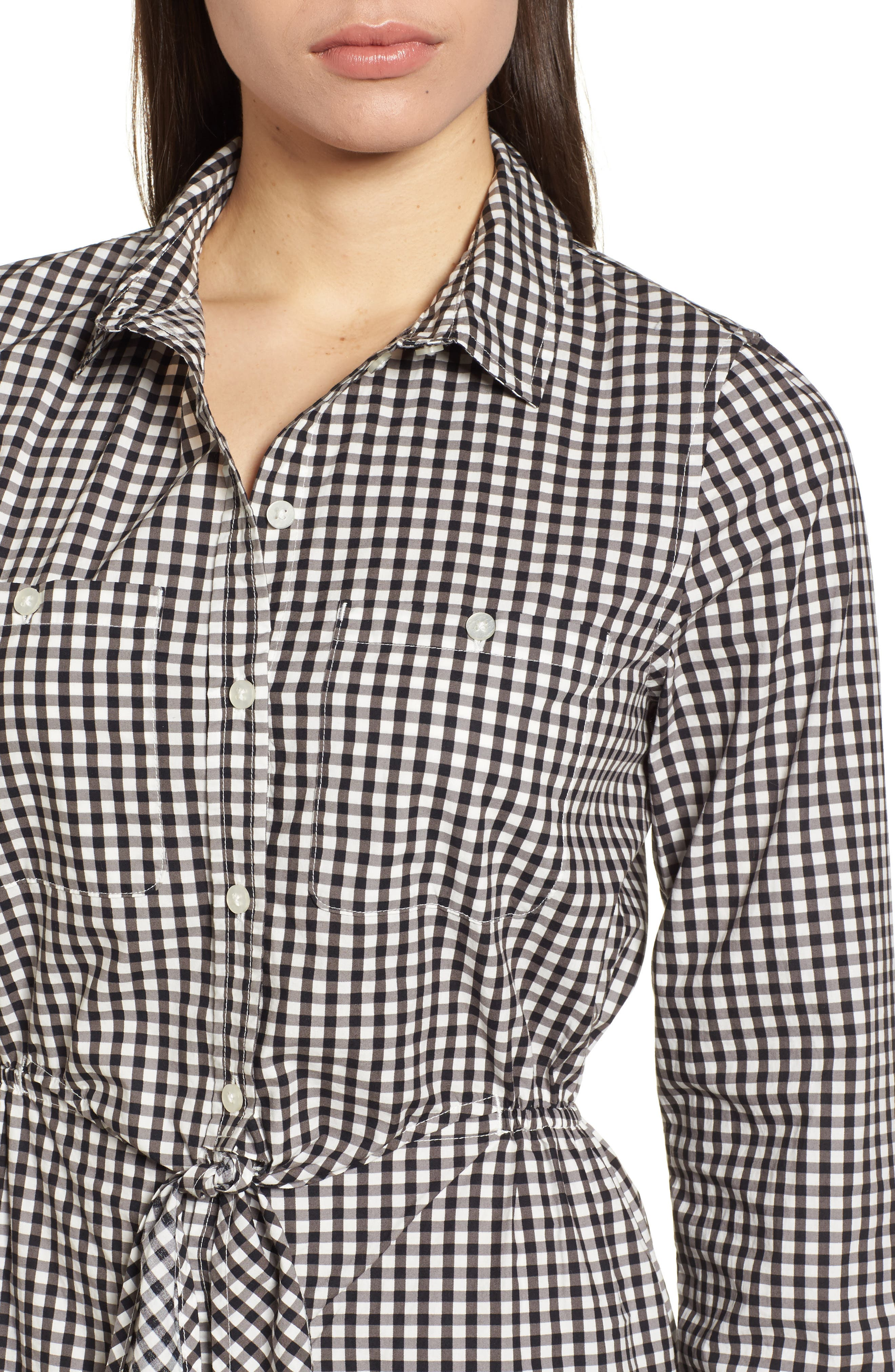 Tie Front Gingham Shirtdress,                             Alternate thumbnail 4, color,                             011
