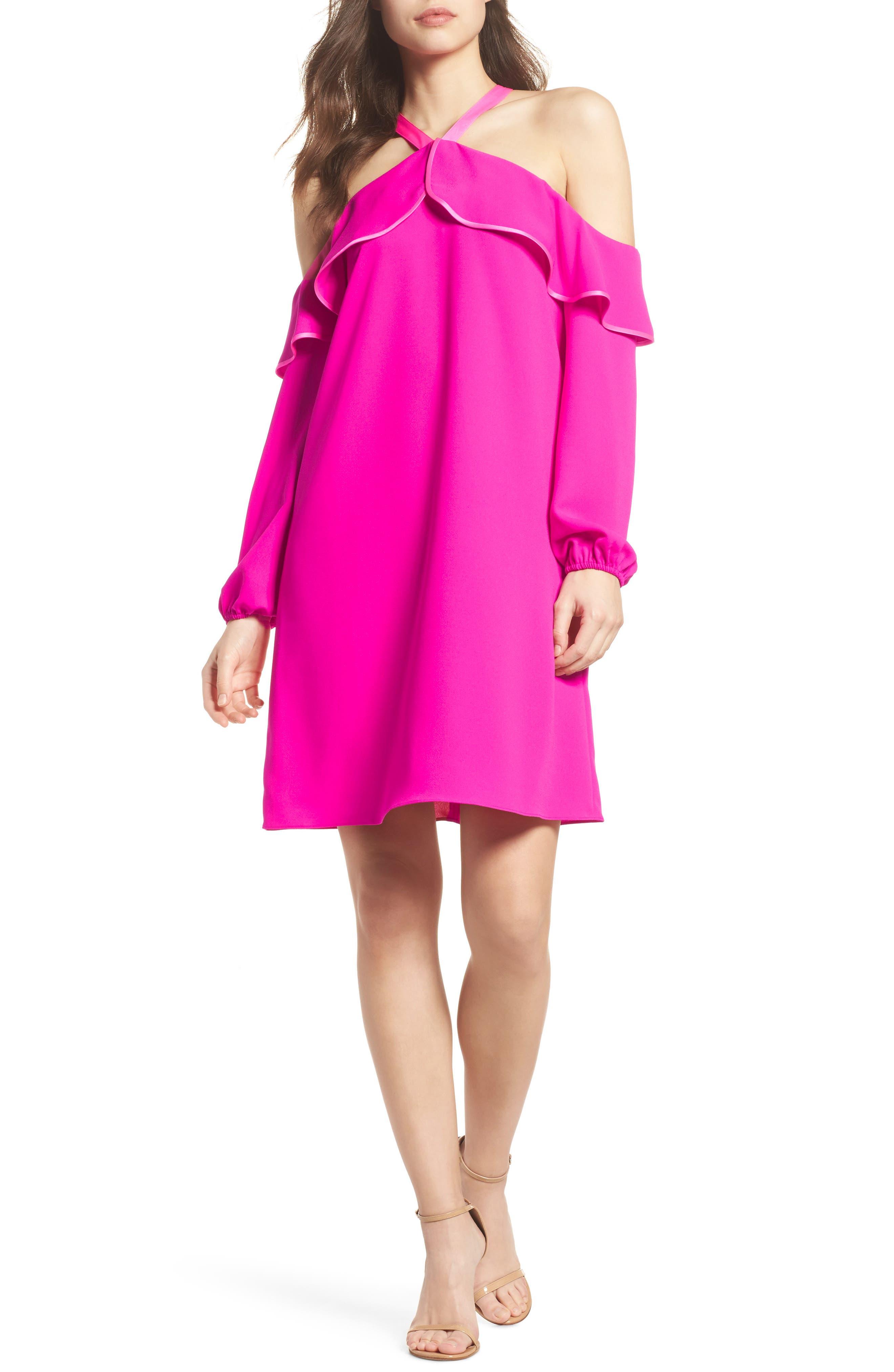 Abrielle Ruffle A-Line Dress,                             Main thumbnail 1, color,                             BERRY SANGRIA