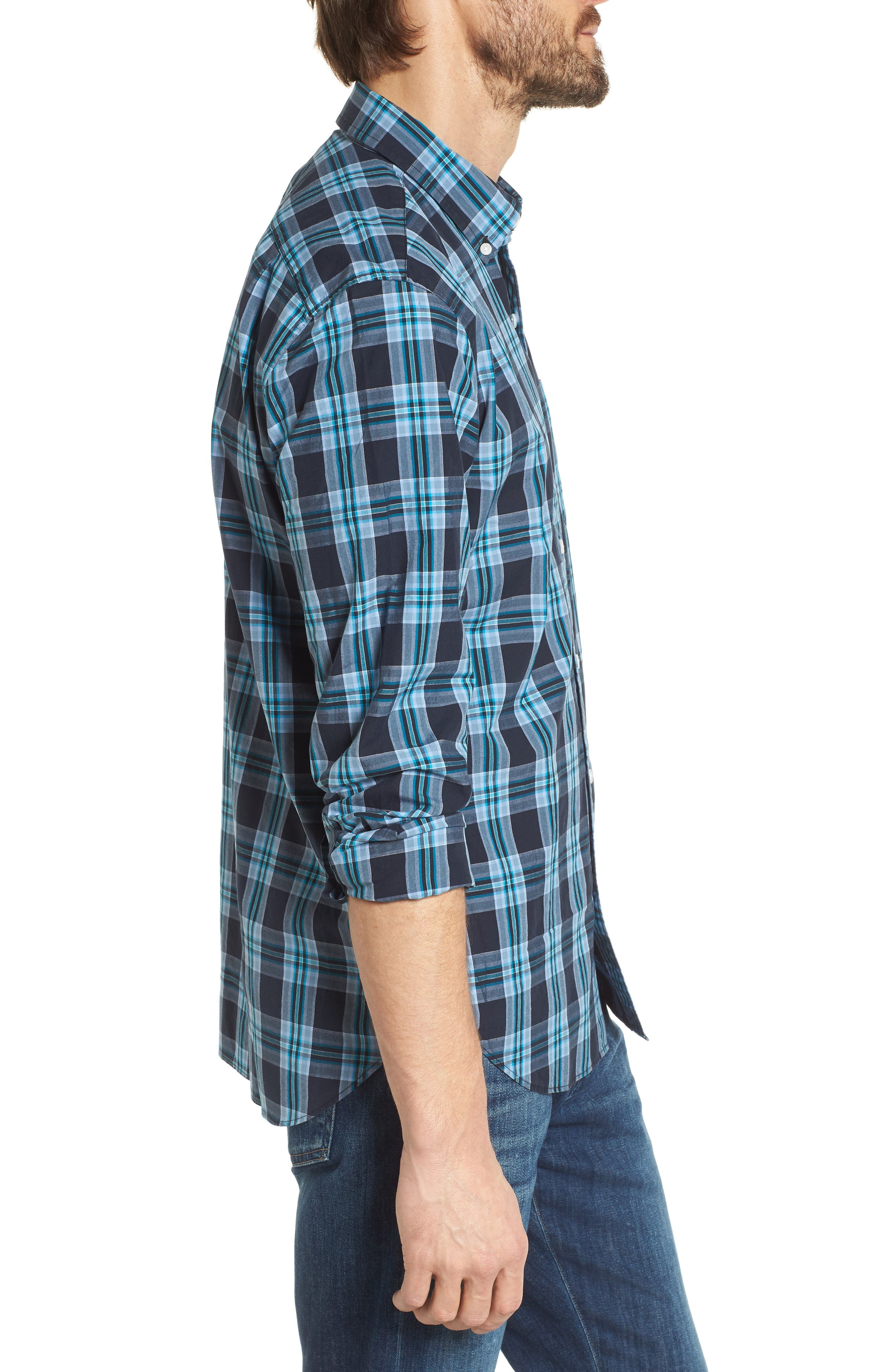 Slim Fit Washed Plaid Sport Shirt,                             Alternate thumbnail 3, color,                             400