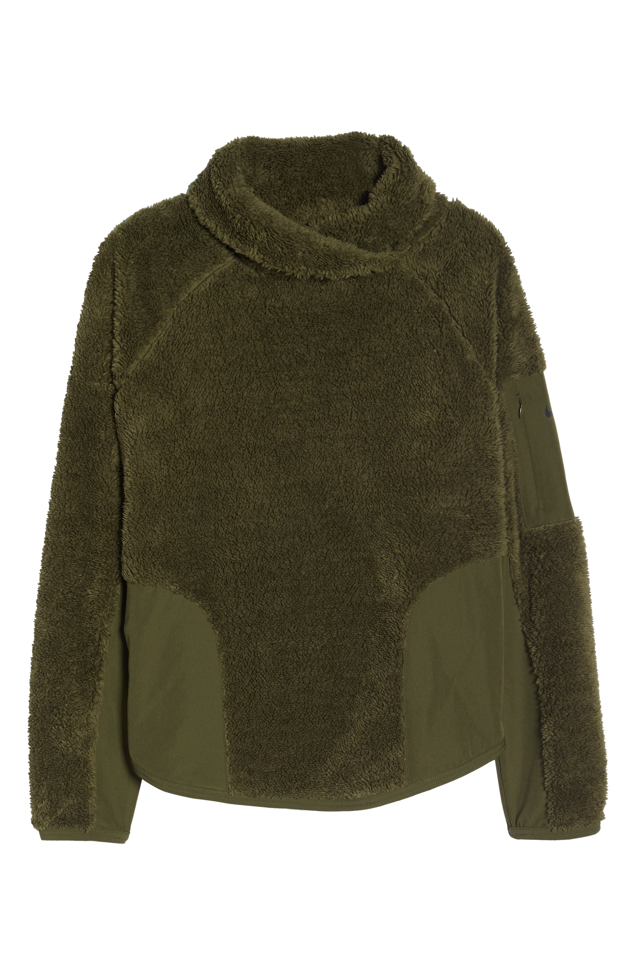 Fleece Mock Neck Top,                             Alternate thumbnail 7, color,                             OLIVE CANVAS/ BLACK