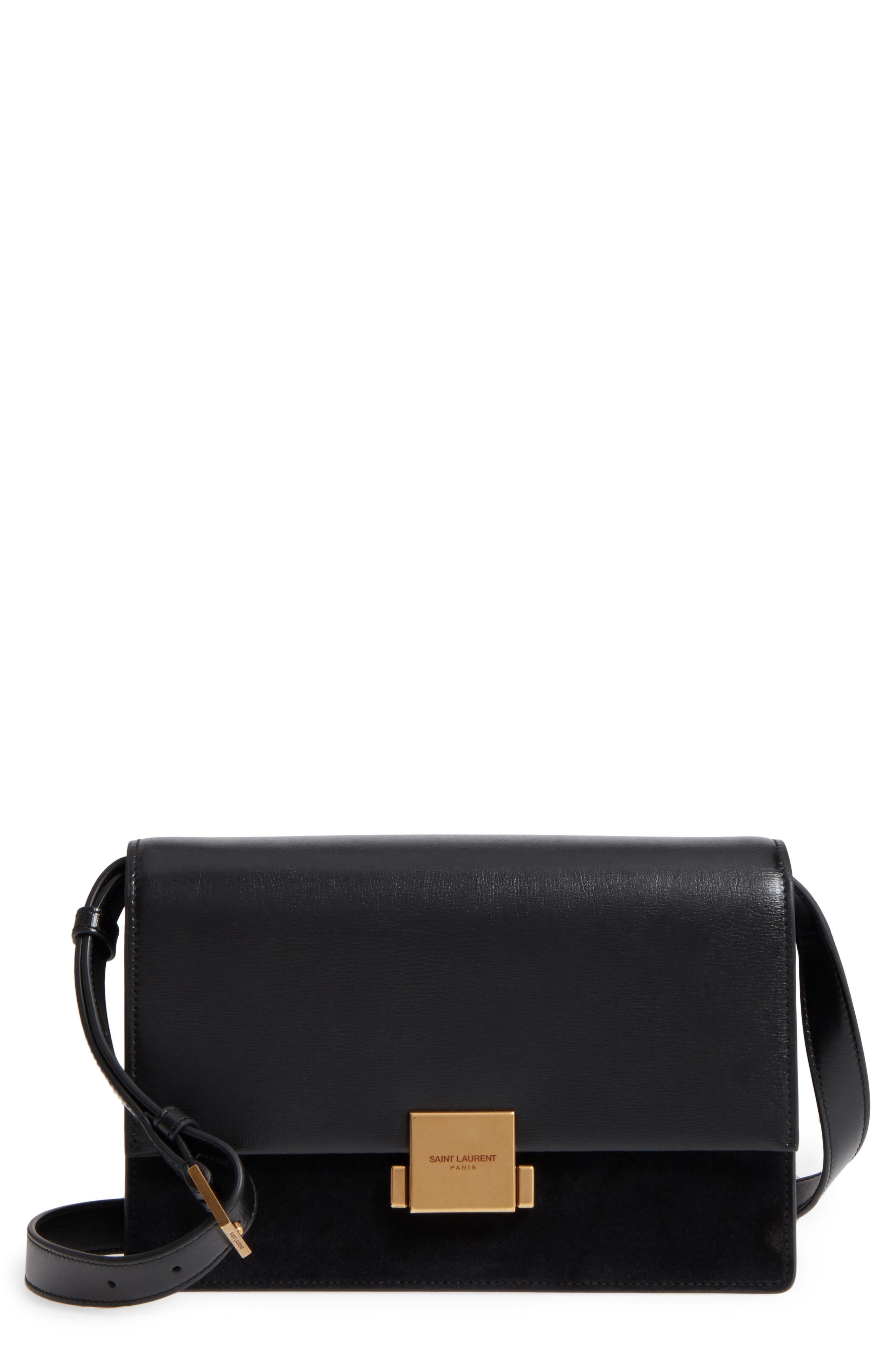 Medium Bellechasse Suede & Leather Shoulder Bag,                             Main thumbnail 1, color,                             NOIR