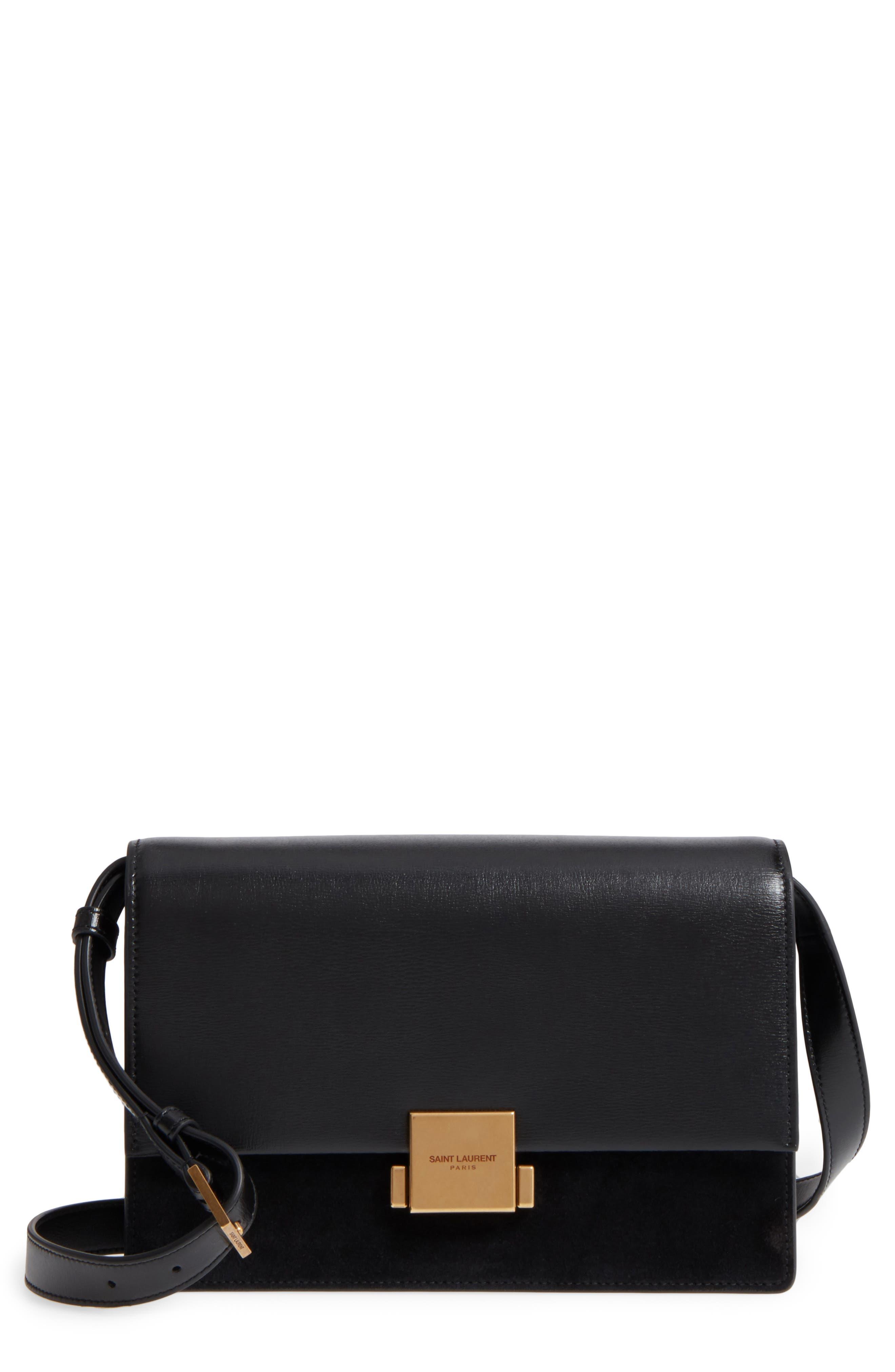 Medium Bellechasse Suede & Leather Shoulder Bag,                         Main,                         color, NOIR