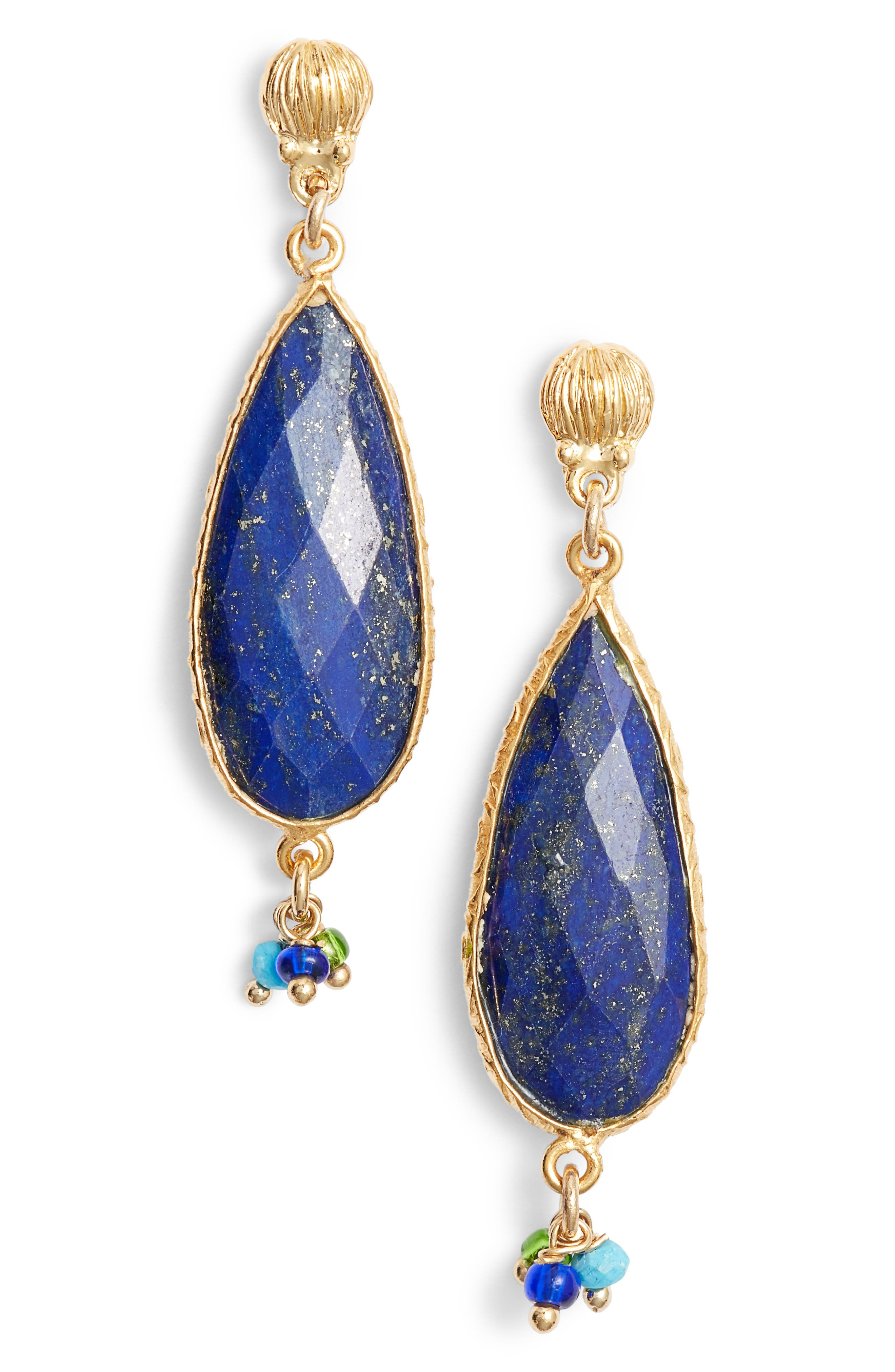 Serti Goutte Drop Earrings,                         Main,                         color, BLUE
