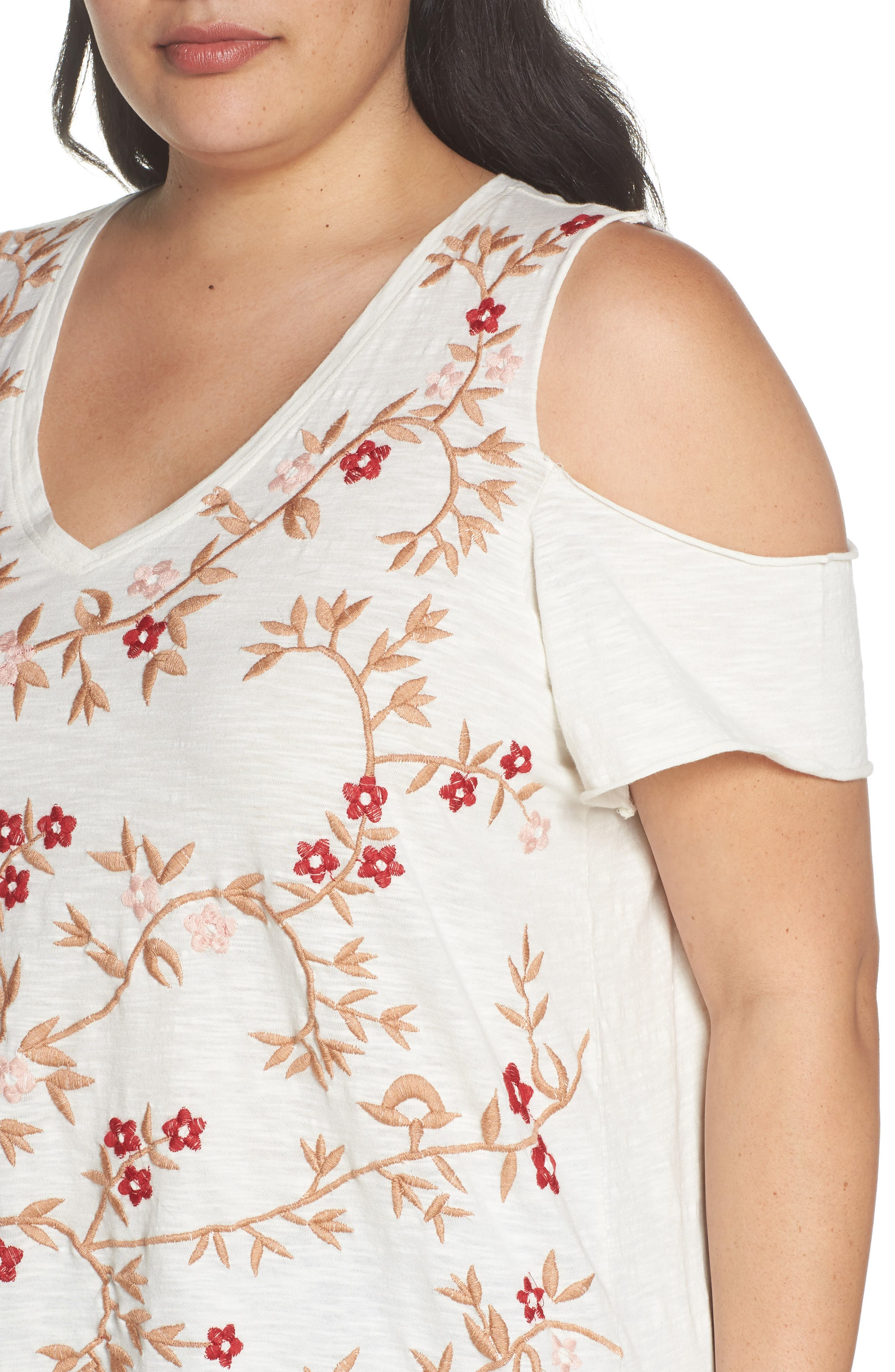 Floral Embroidered Tee,                             Alternate thumbnail 4, color,                             600