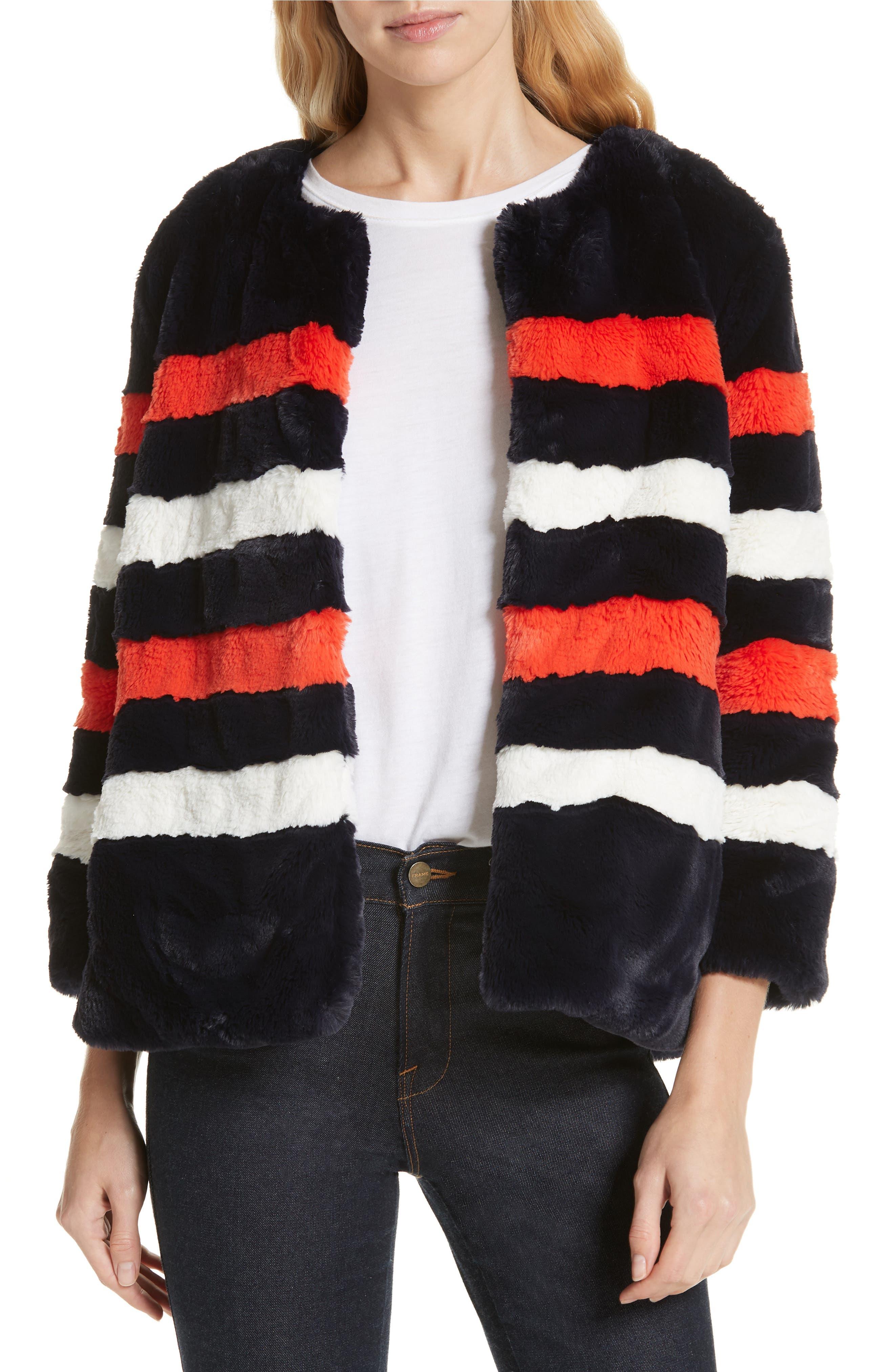 KULE The Bailey Stripe Faux Fur Jacket in Navy/ Poppy/ Wihte