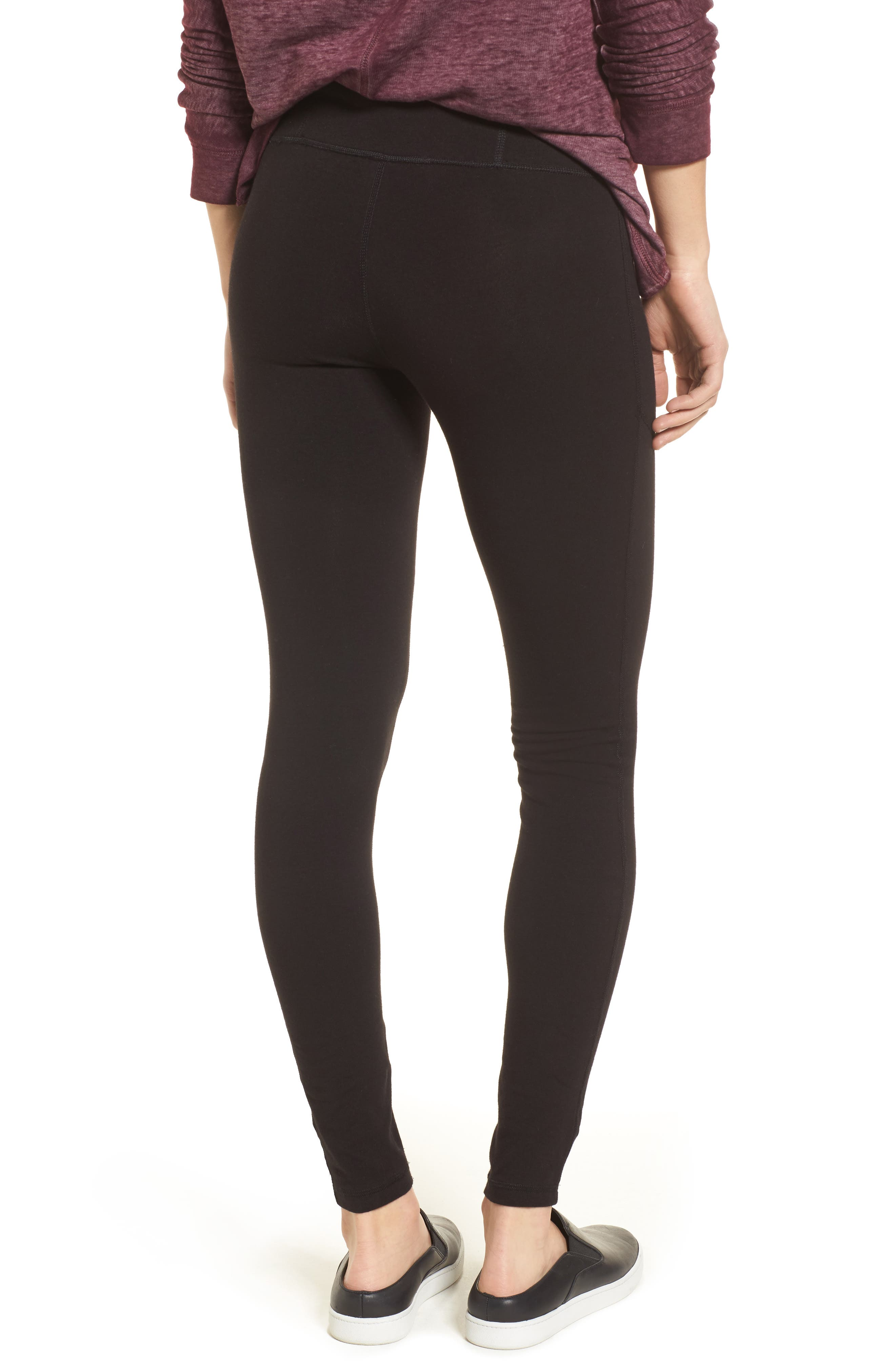 HUE,                             Hold It High Waist Leggings,                             Alternate thumbnail 2, color,                             001