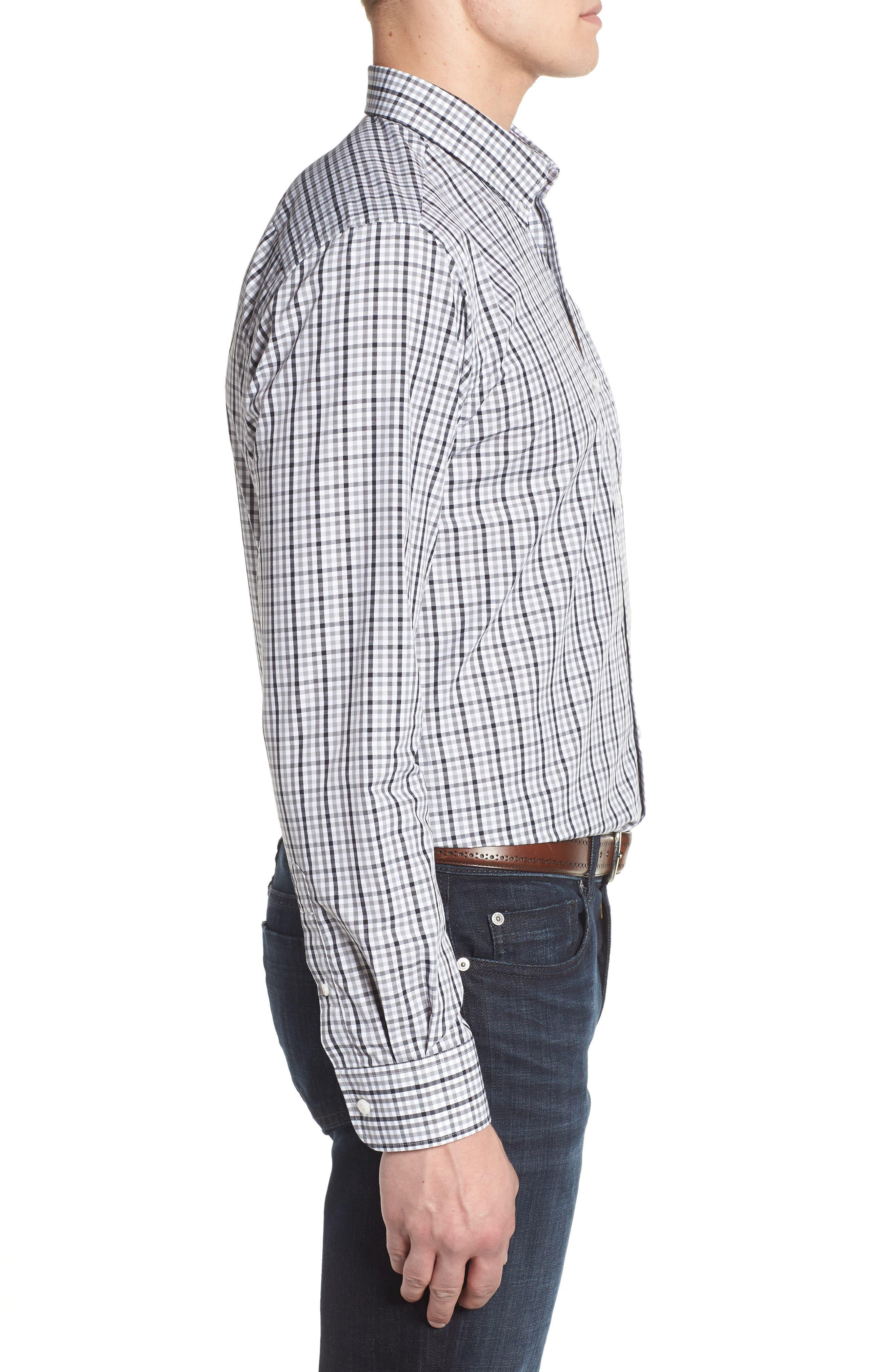 Tampa Bay Buccaneers - Gilman Regular Fit Plaid Sport Shirt,                             Alternate thumbnail 3, color,                             BLACK
