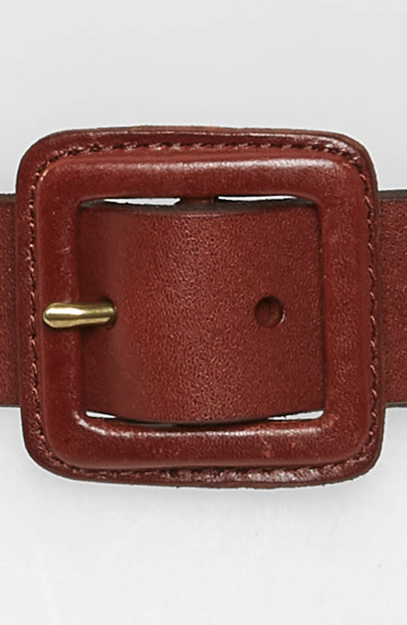 Leather Covered Buckle Belt,                             Alternate thumbnail 3, color,                             RICH BROWN