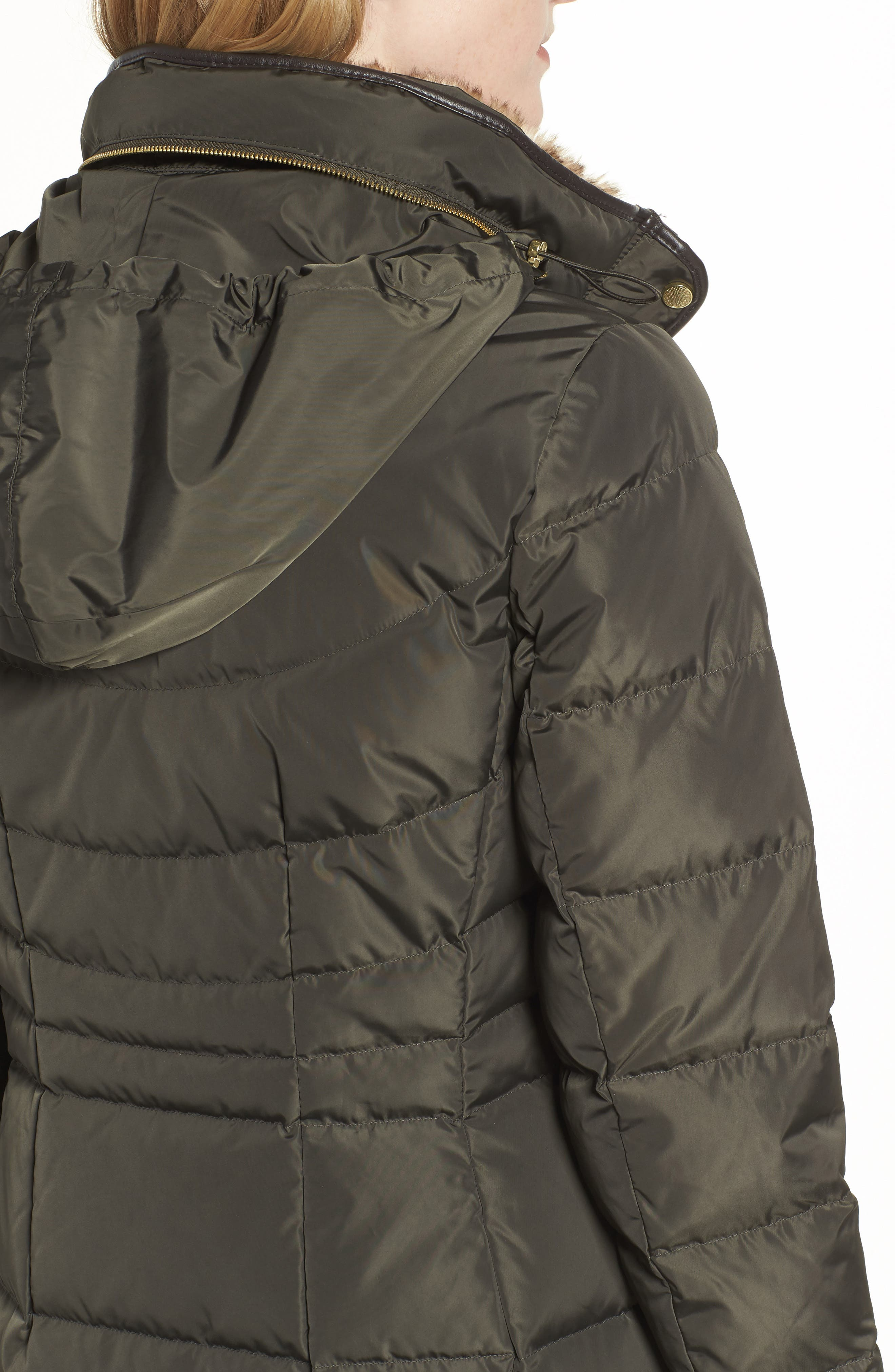 Cole Haan Quilted Down & Feather Fill Jacket with Faux Fur Trim,                             Alternate thumbnail 4, color,                             FOREST