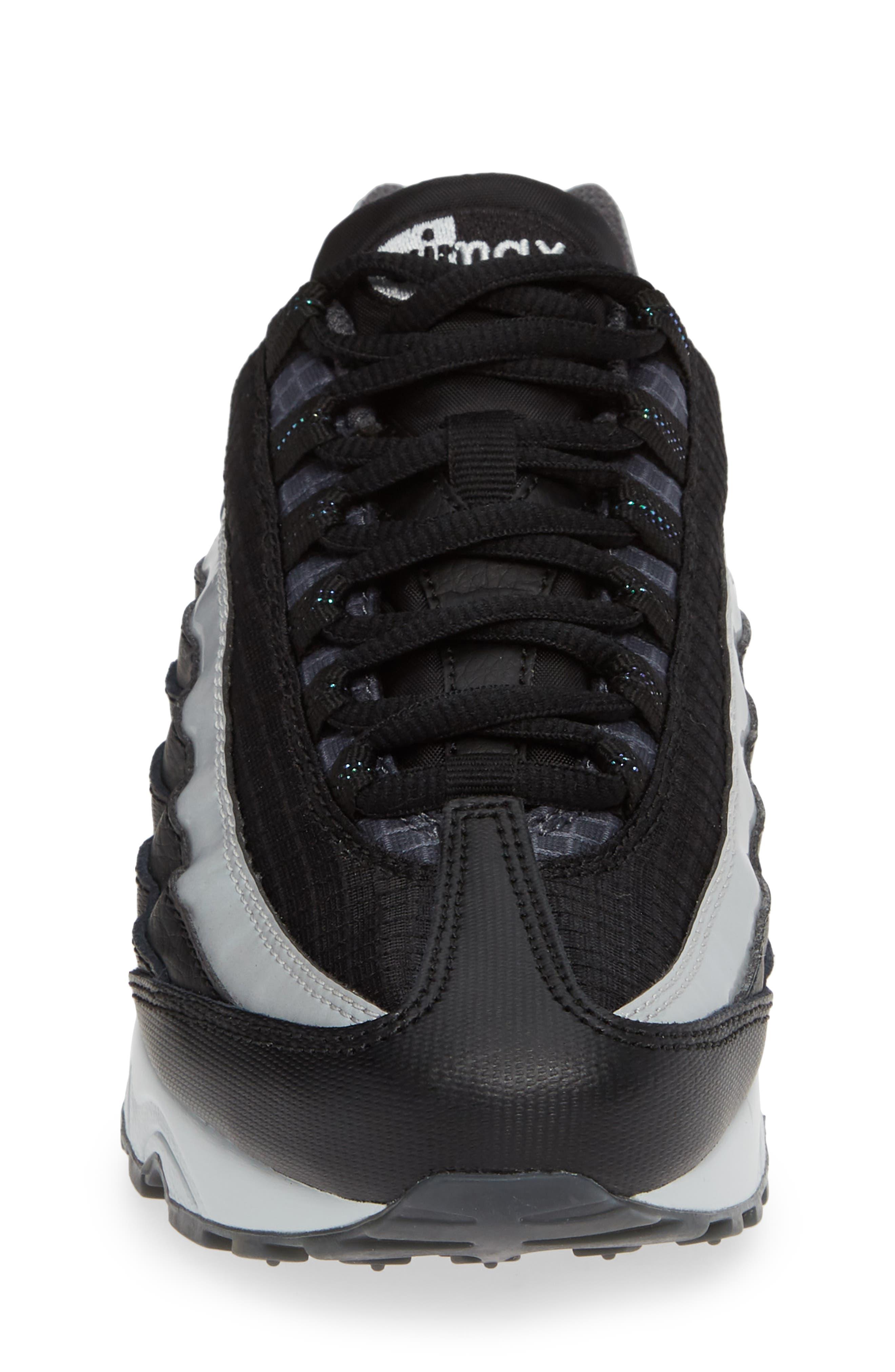 Air Max 95 Y2K Sneaker,                             Alternate thumbnail 4, color,                             BLACK METALLIC SILVER