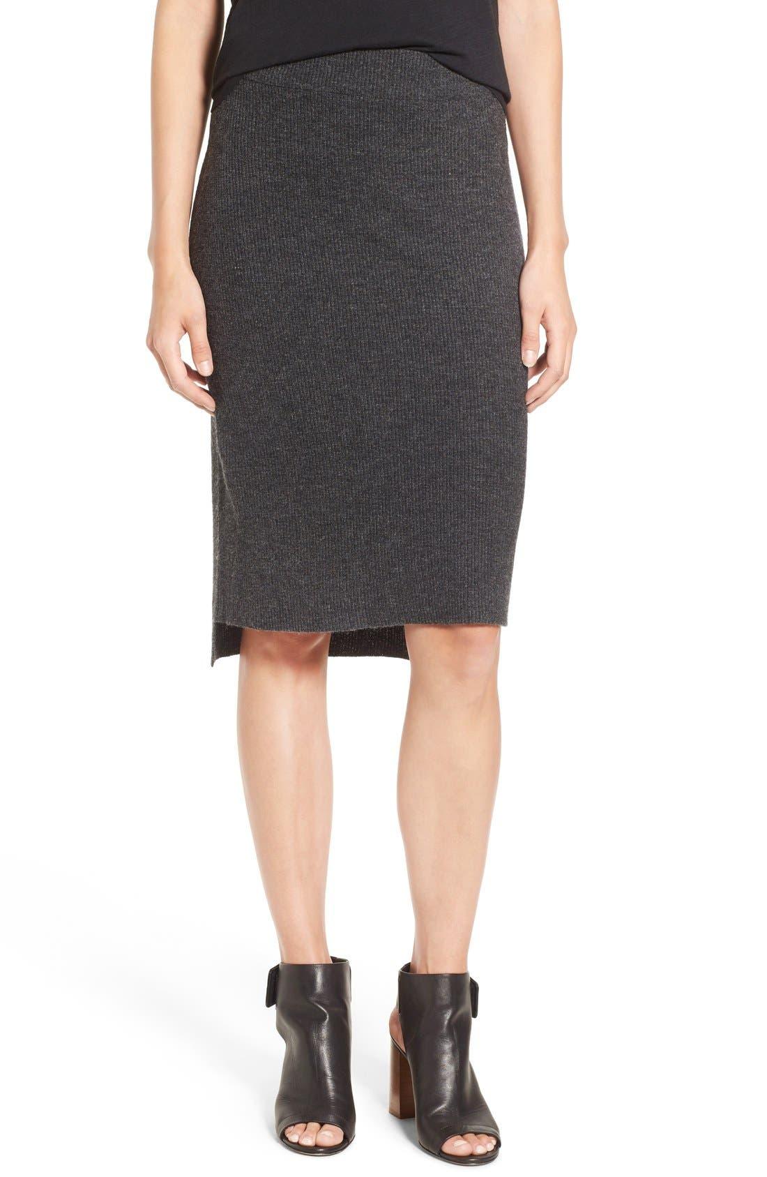 Rib Knit Sweater Skirt, Main, color, 030
