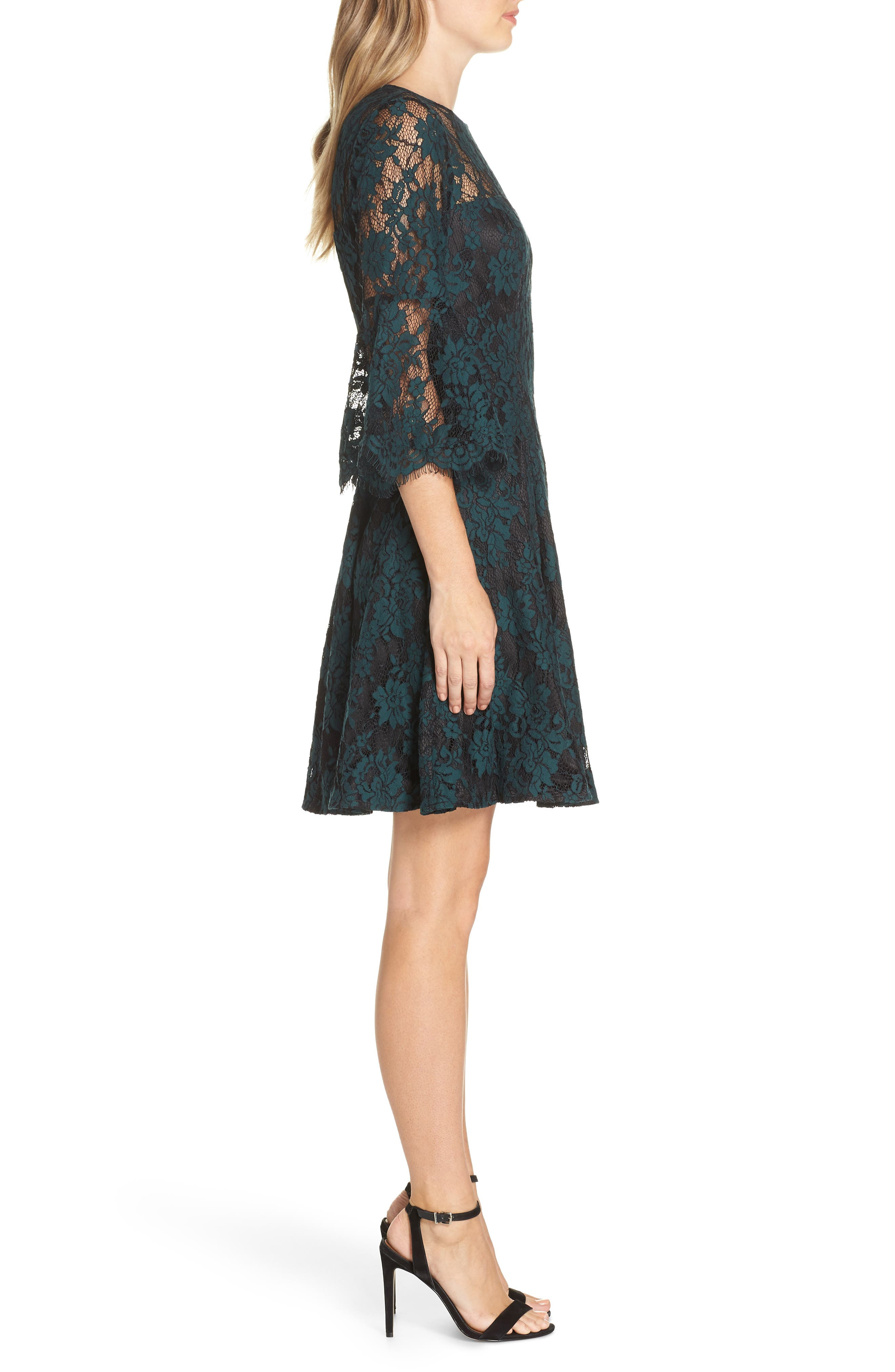 Bell Sleeve Lace Dress,                             Alternate thumbnail 3, color,                             GREEN