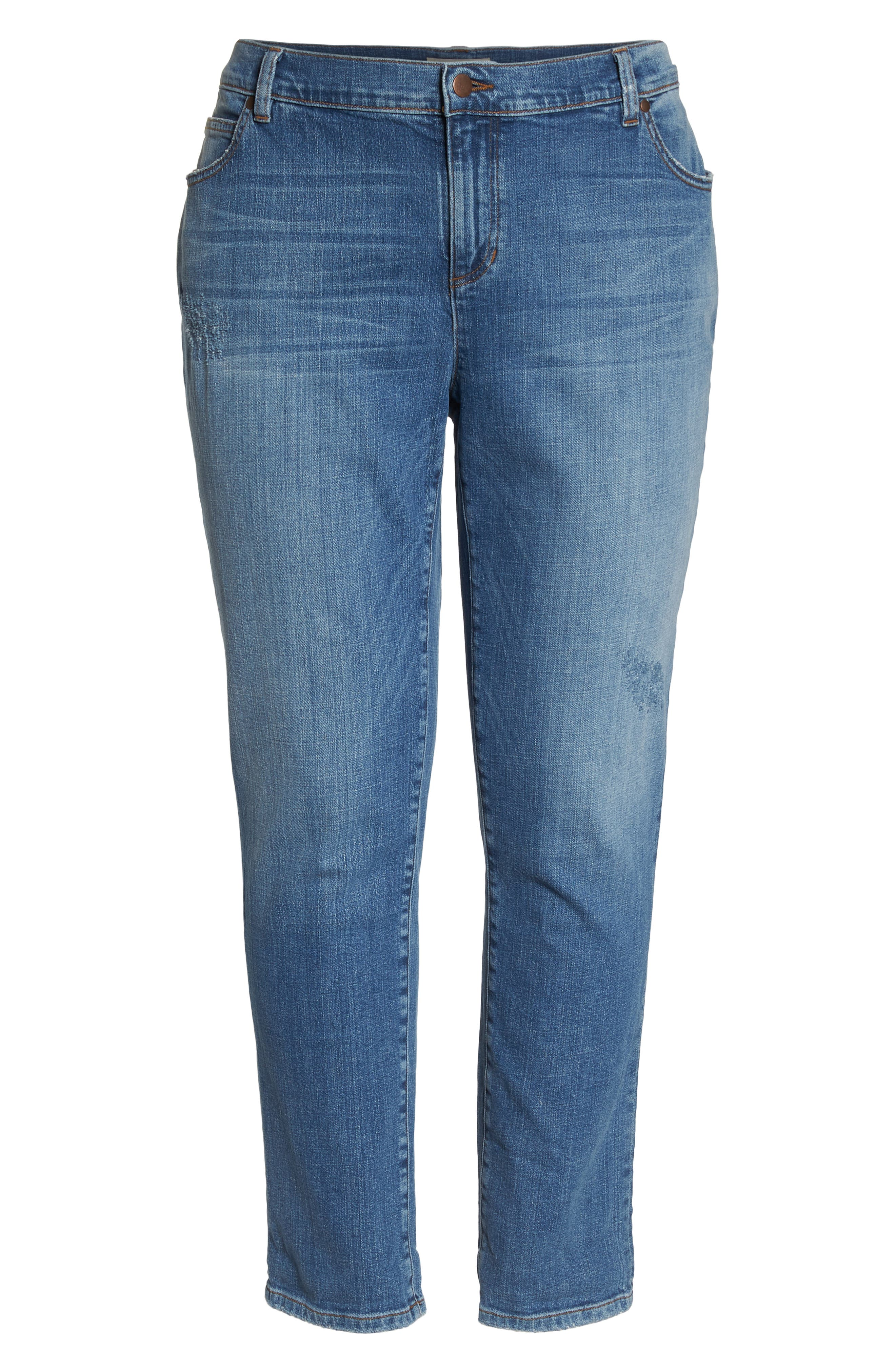 EILEEN FISHER,                             Stretch Organic Cotton Boyfriend Jeans,                             Alternate thumbnail 7, color,                             ABRADED SKY BLUE
