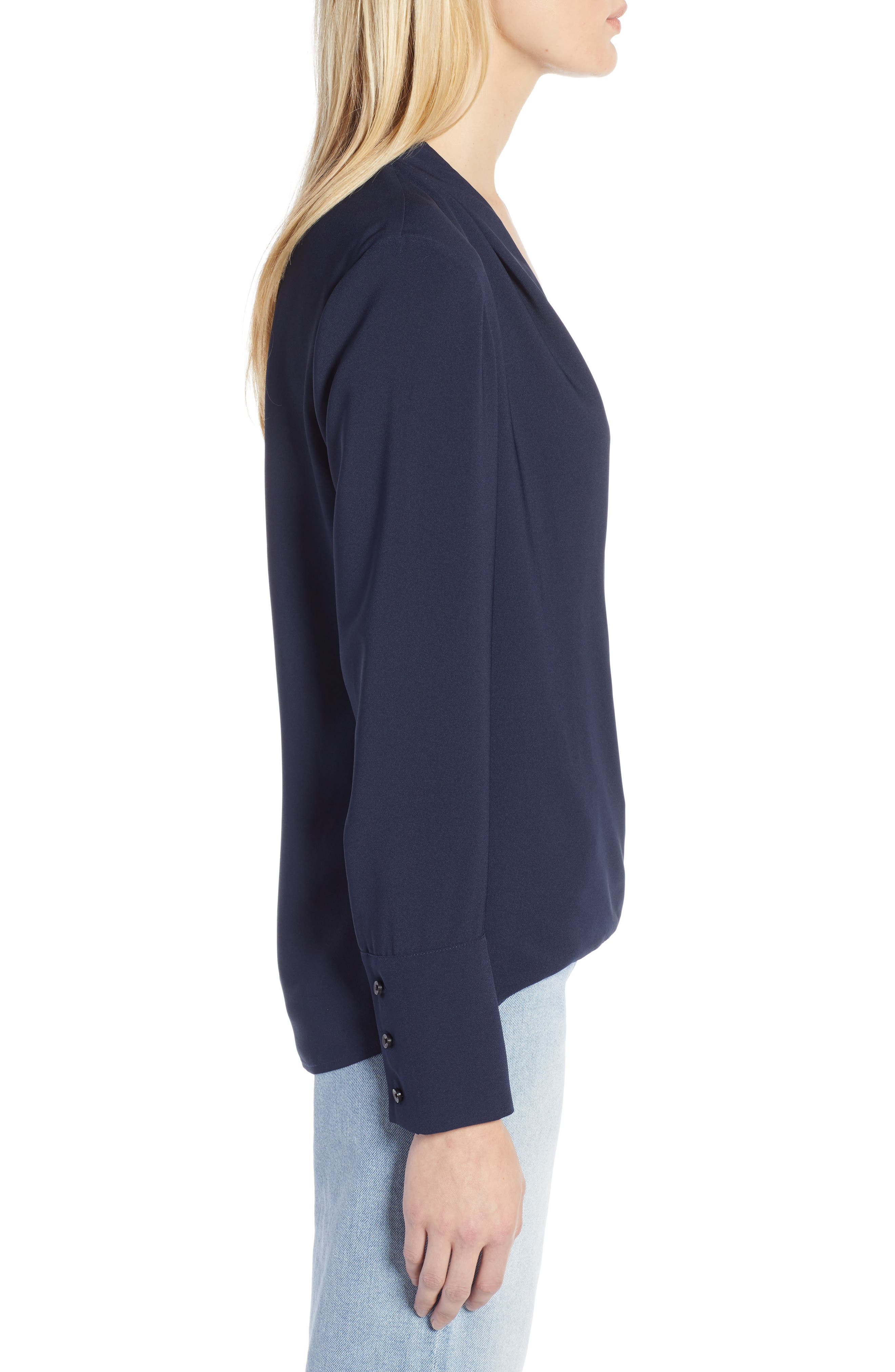 x Atlantic-Pacific Wrap Blouse,                             Alternate thumbnail 3, color,                             NAVY BLAZER