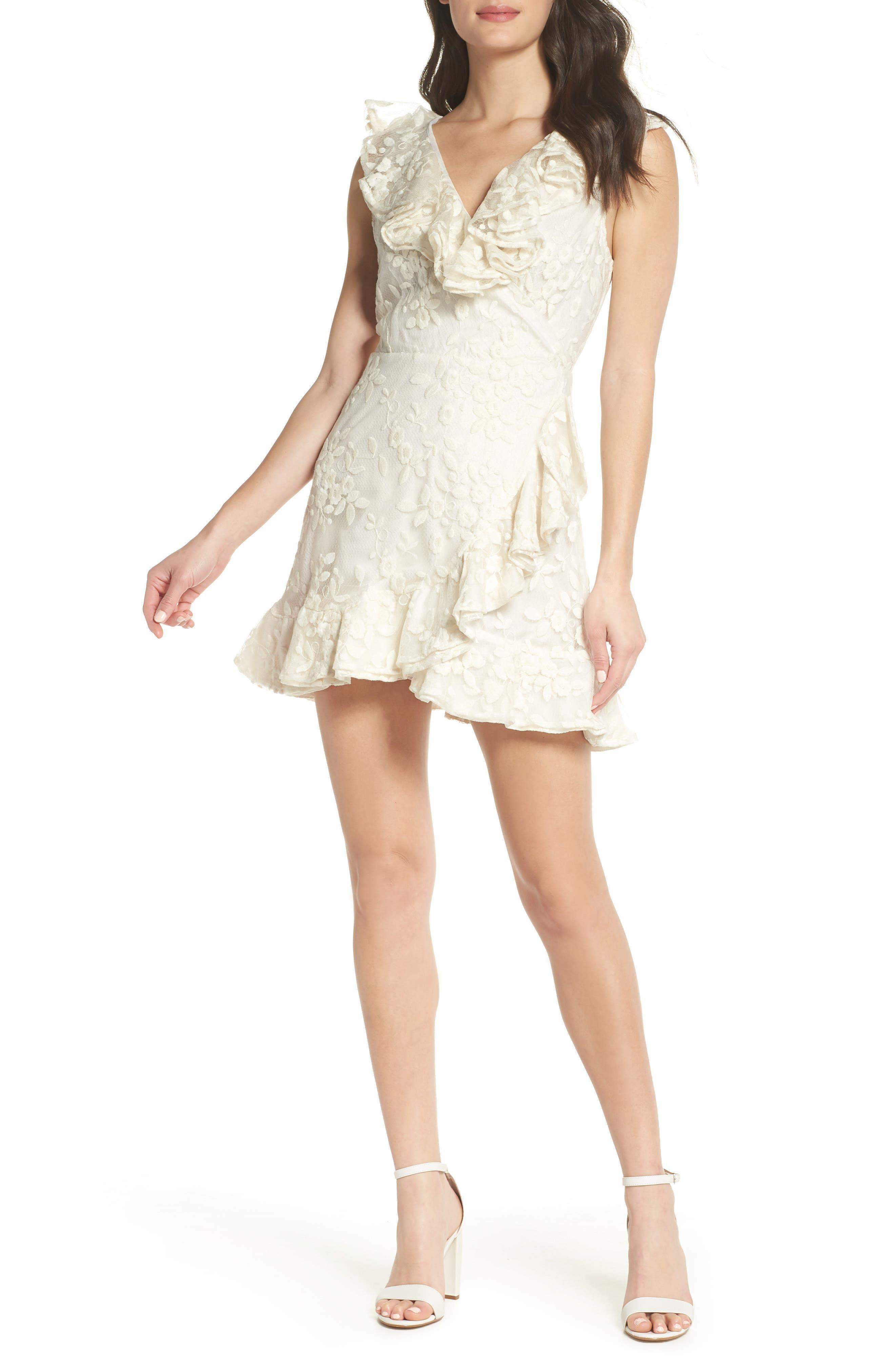 Harlow Ruffle Minidress,                         Main,                         color, ANTIQUE IVORY
