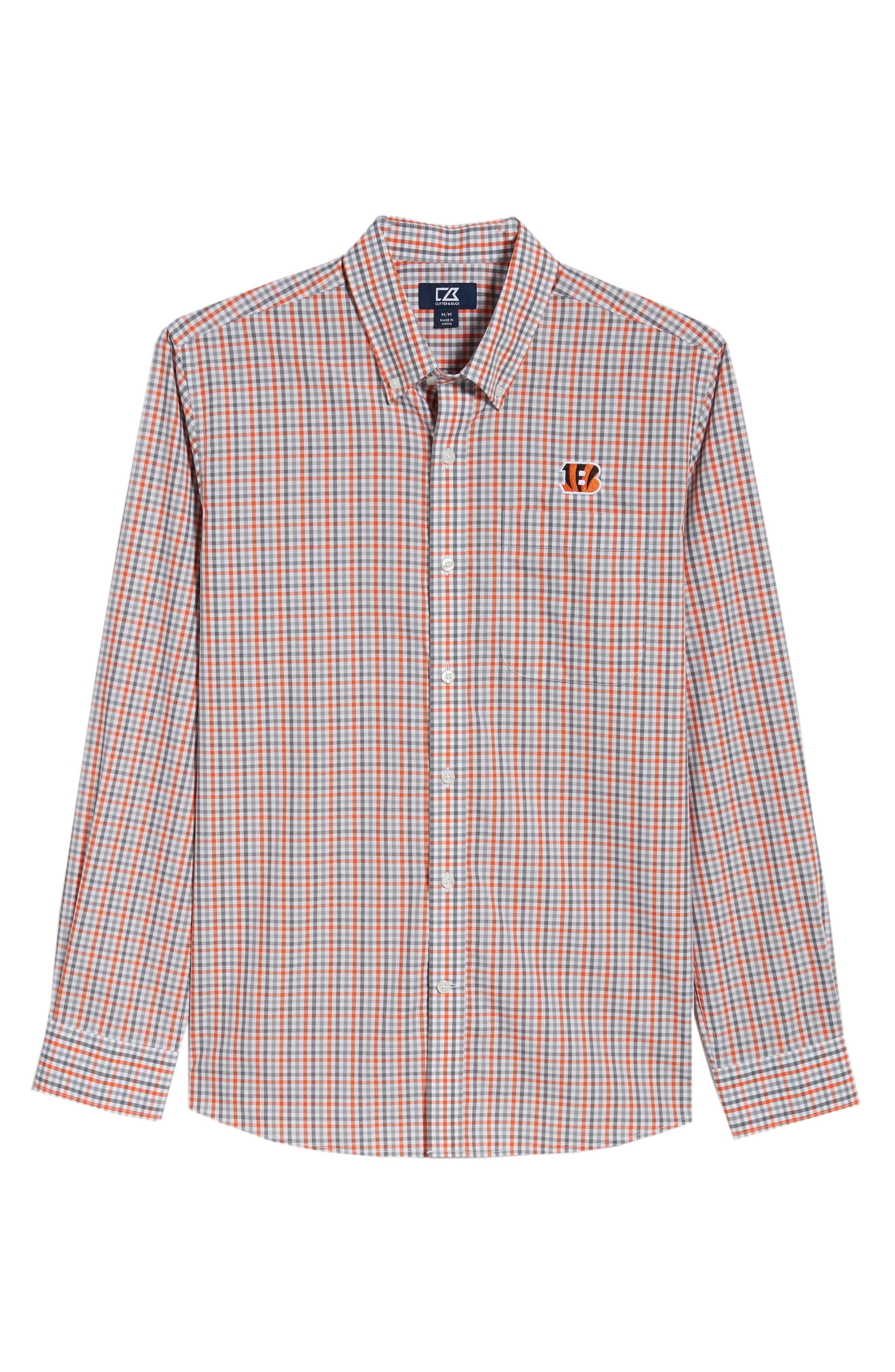 Cincinnati Bengals - Gilman Regular Fit Plaid Sport Shirt,                             Alternate thumbnail 6, color,                             COLLEGE ORANGE