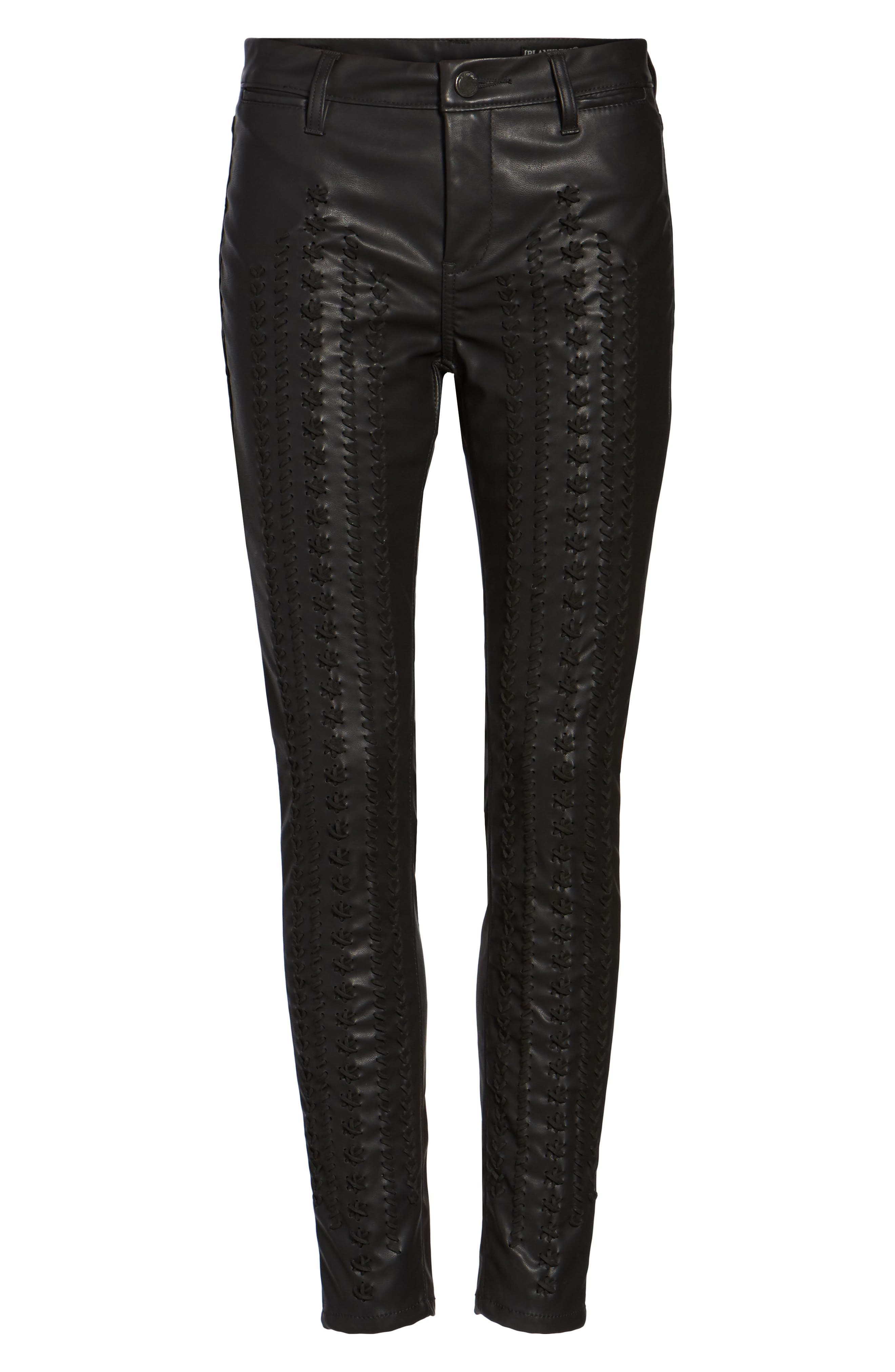 Whipstitch Ankle Skinny Faux Leather Pants,                             Alternate thumbnail 6, color,                             001