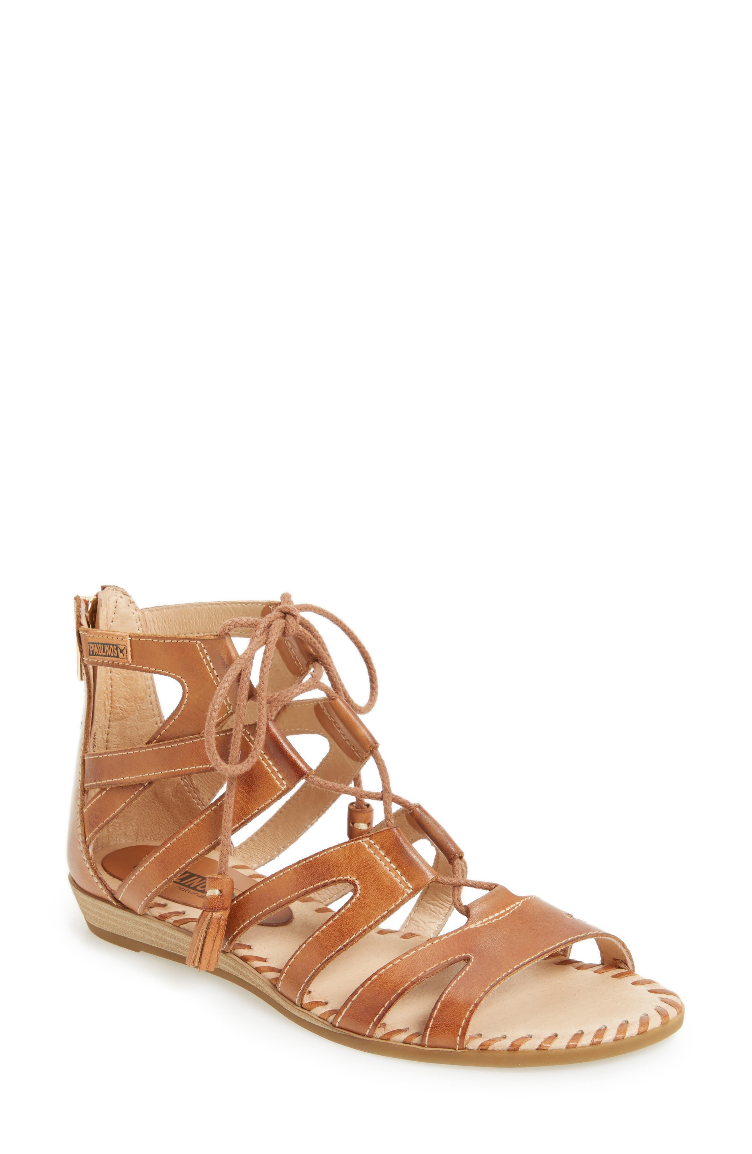 'Alcudia' Lace-Up Sandal,                             Main thumbnail 1, color,