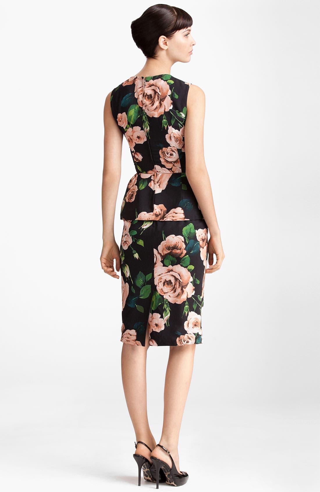 Rose Print Stretch Cady Skirt,                             Alternate thumbnail 4, color,                             002