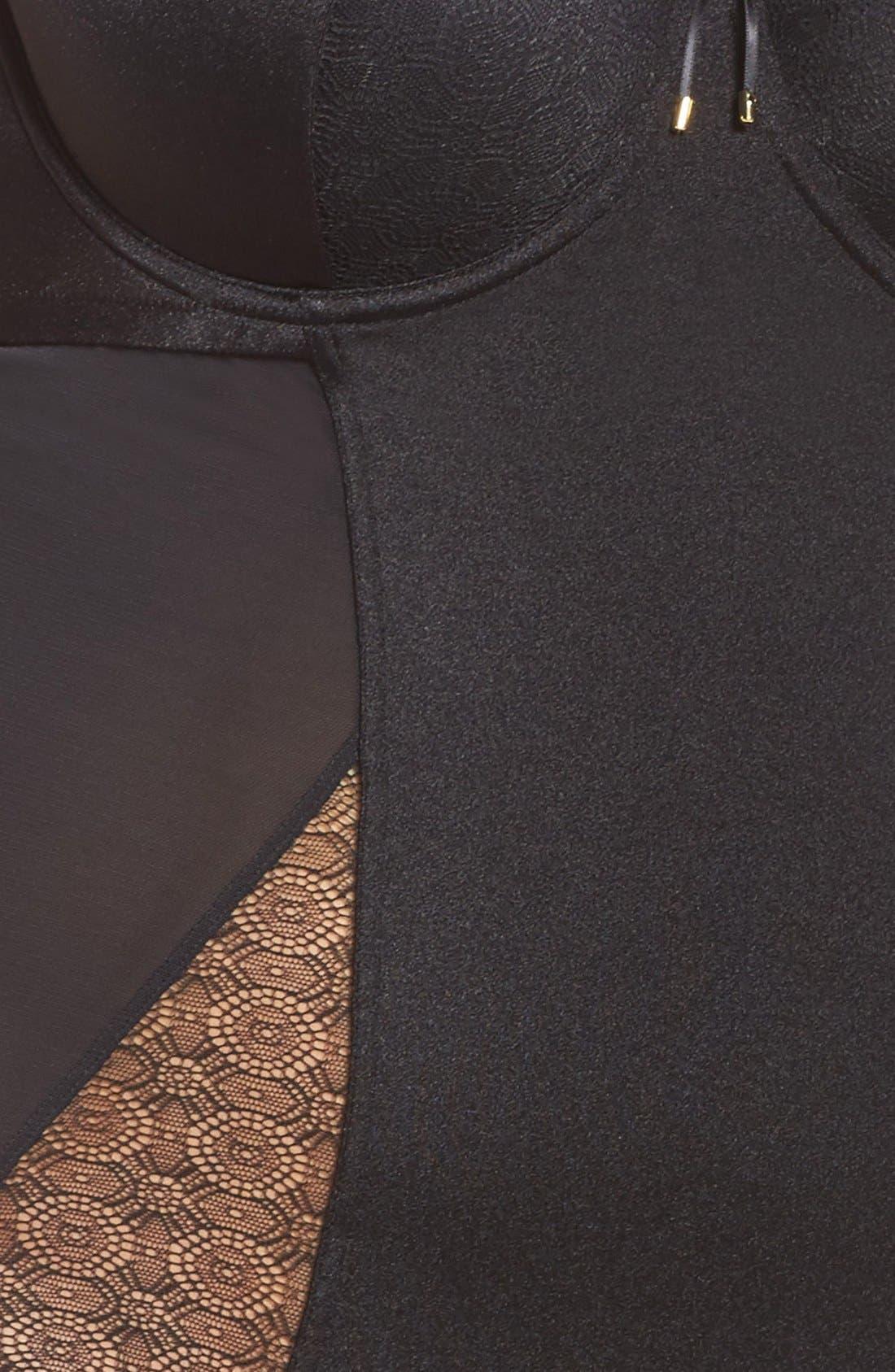 Underwire Garter Bodysuit,                             Alternate thumbnail 2, color,                             001
