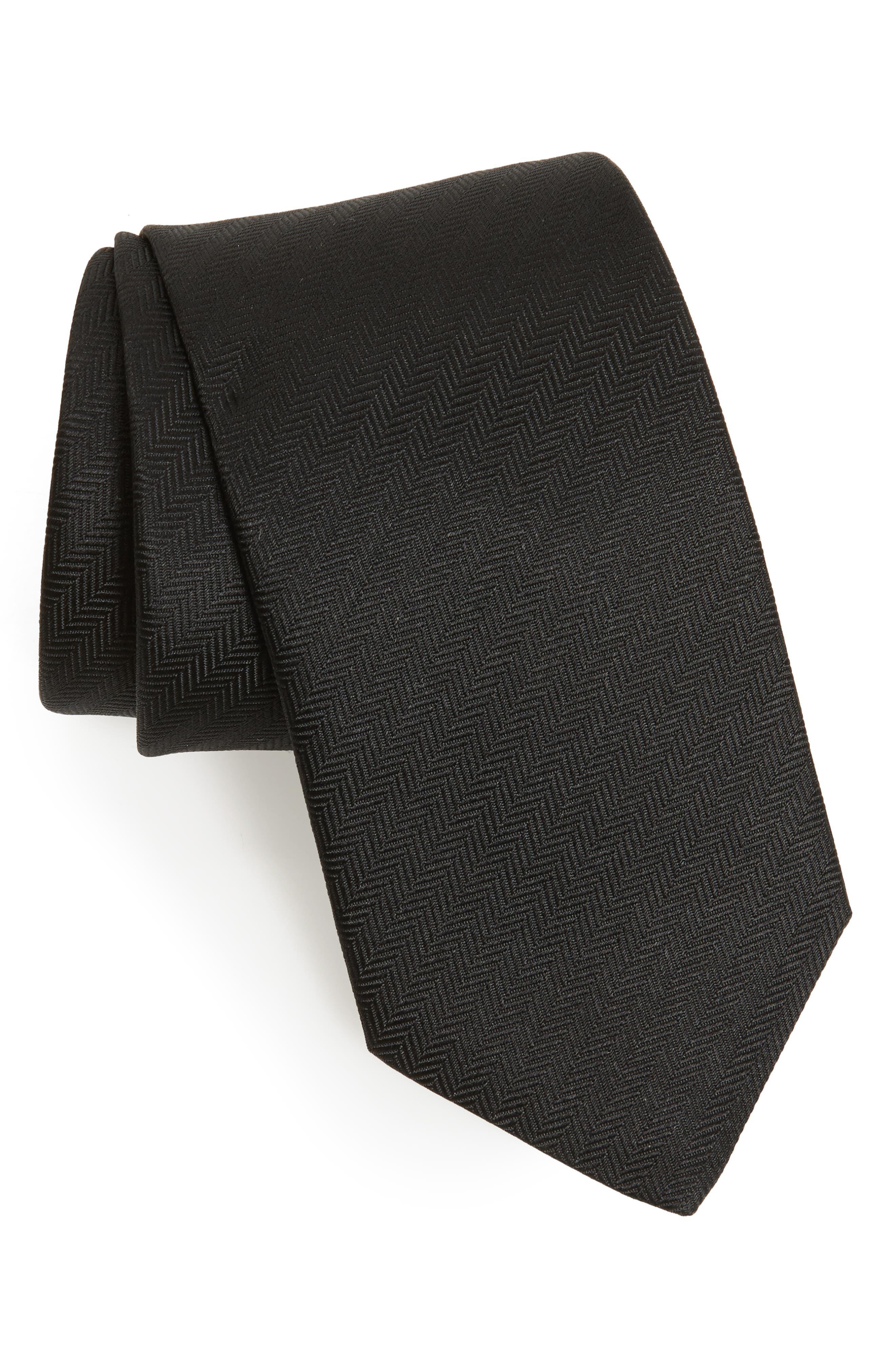 Herringbone Textured Silk Tie,                             Main thumbnail 1, color,                             001