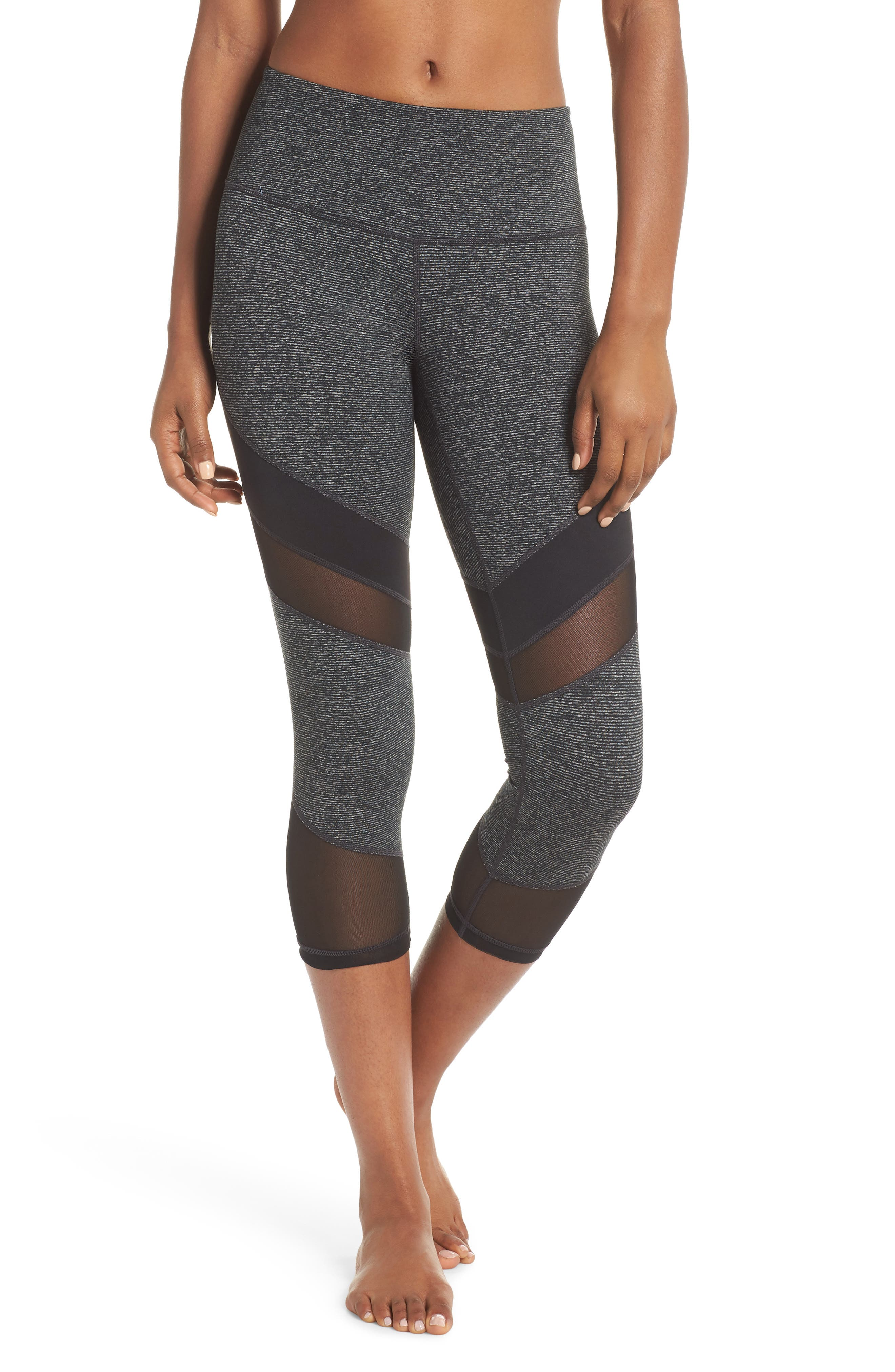 Live in Electric Mix Essential Mesh Crop Leggings,                             Main thumbnail 1, color,                             001