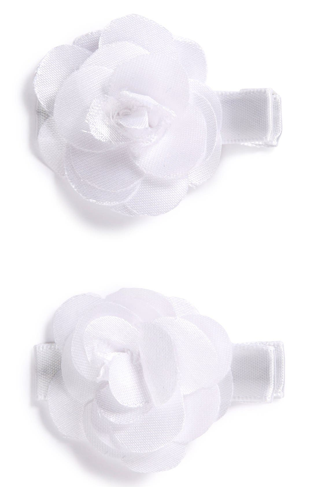 Set of 2 Flower Hair Clips,                         Main,                         color, WHITE