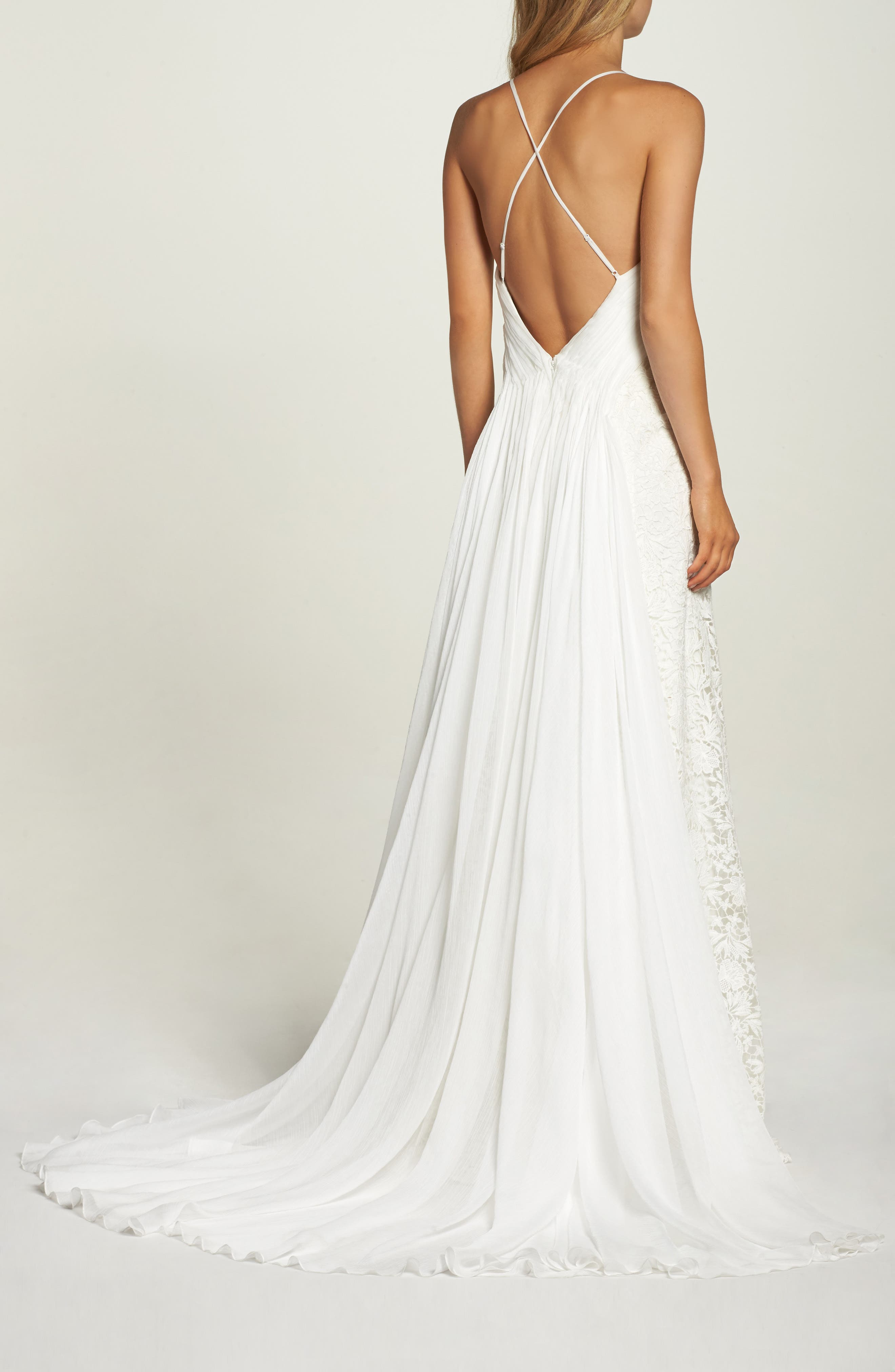 Pleat Back Lace Gown,                             Alternate thumbnail 2, color,                             IVORY