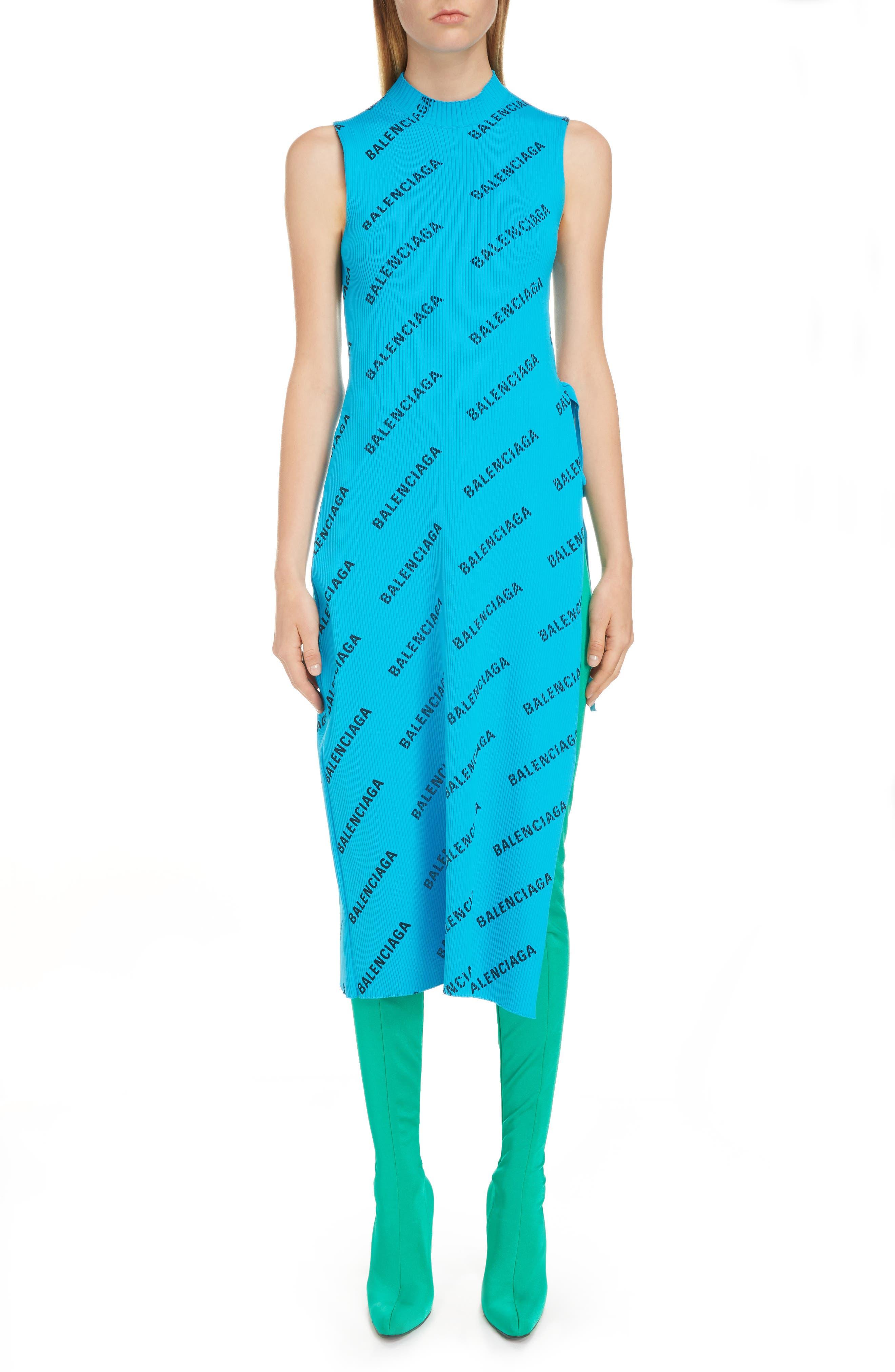Balenciaga Logo Print Rib Knit Wrap Dress