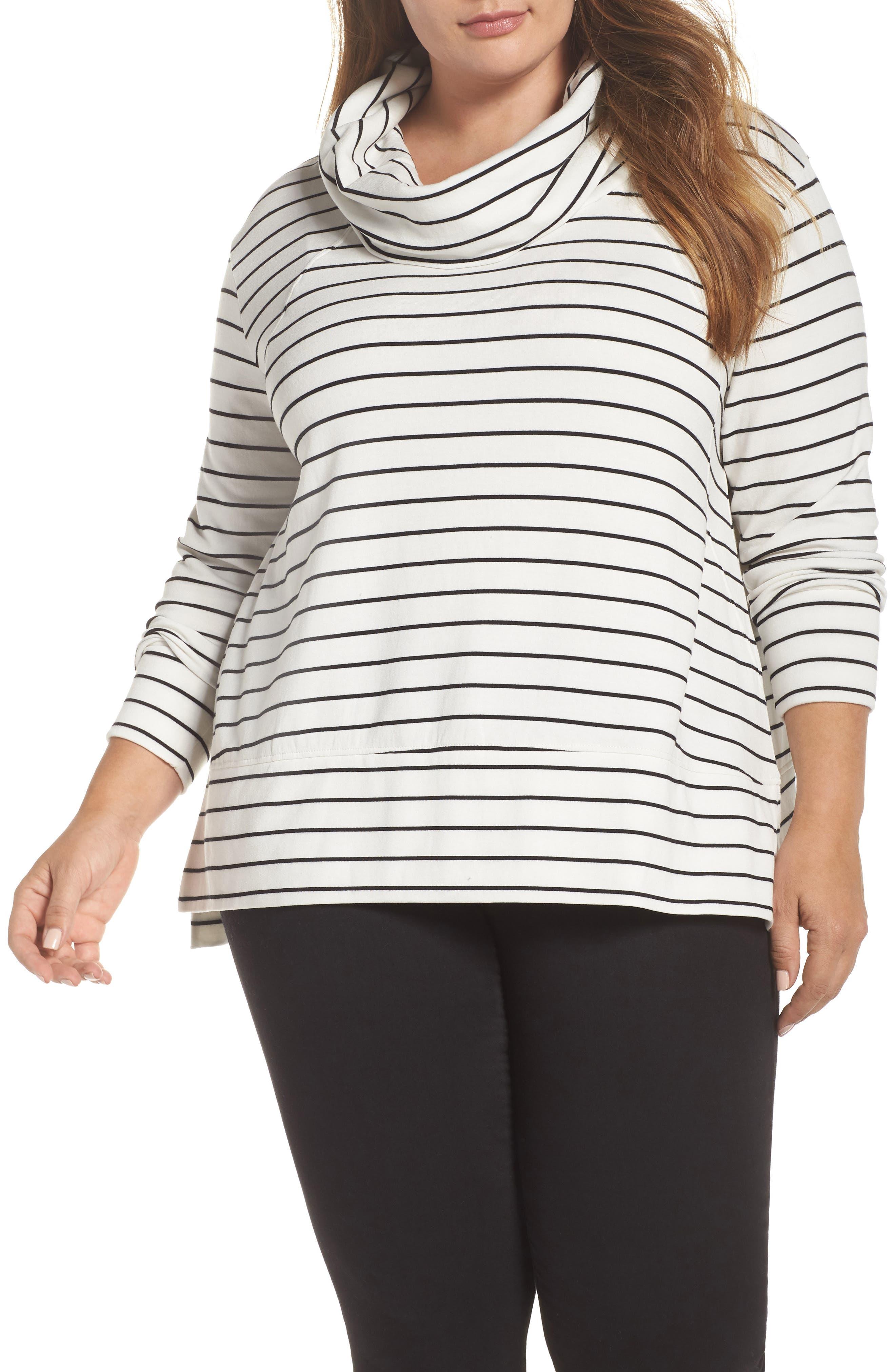 Cowl Neck Tunic Sweatshirt,                             Main thumbnail 1, color,                             IVORY- BLACK LUKAH STRIPE