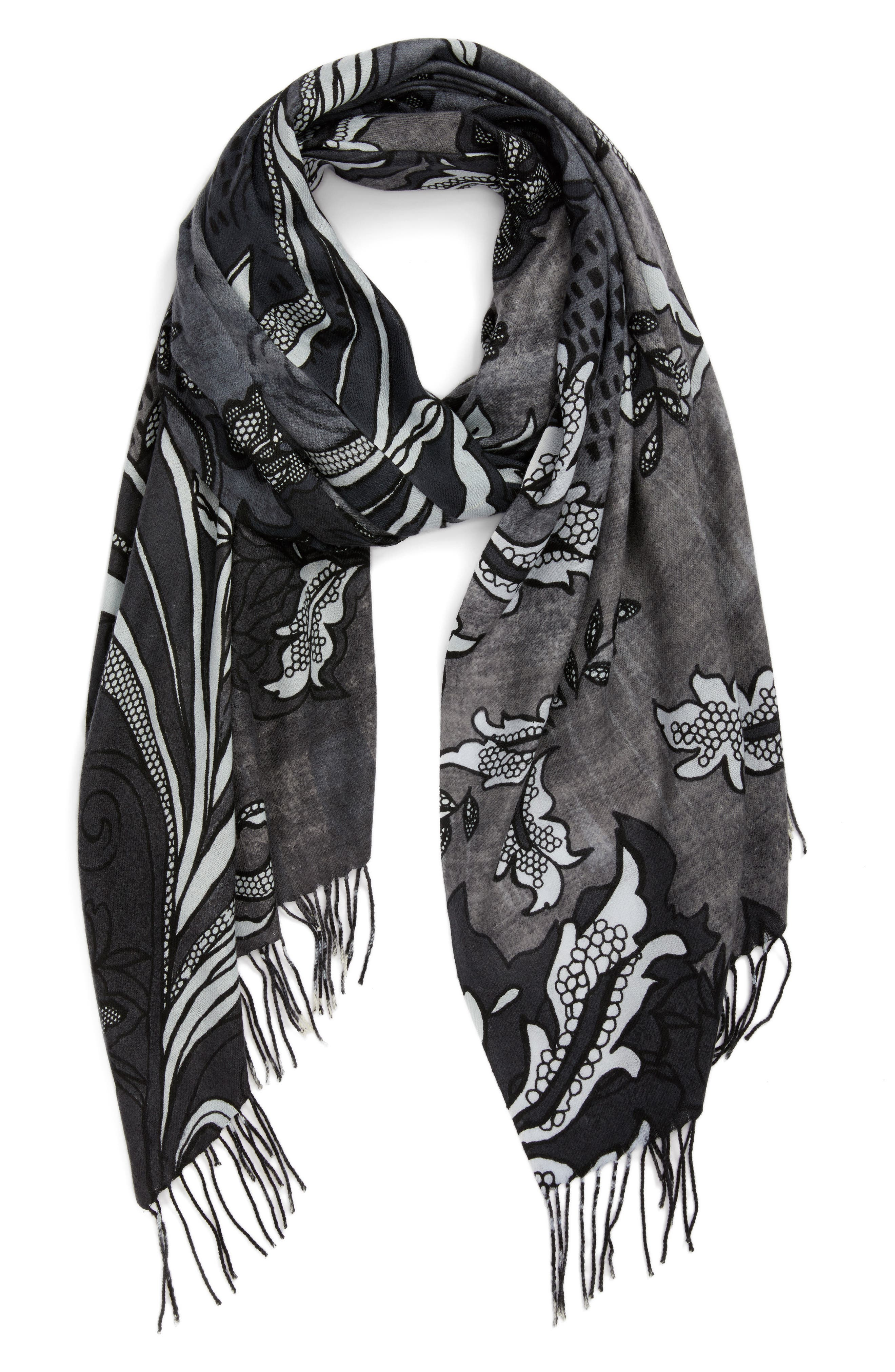 Viennese Floral Tissue Wool & Cashmere Scarf,                             Alternate thumbnail 2, color,                             001