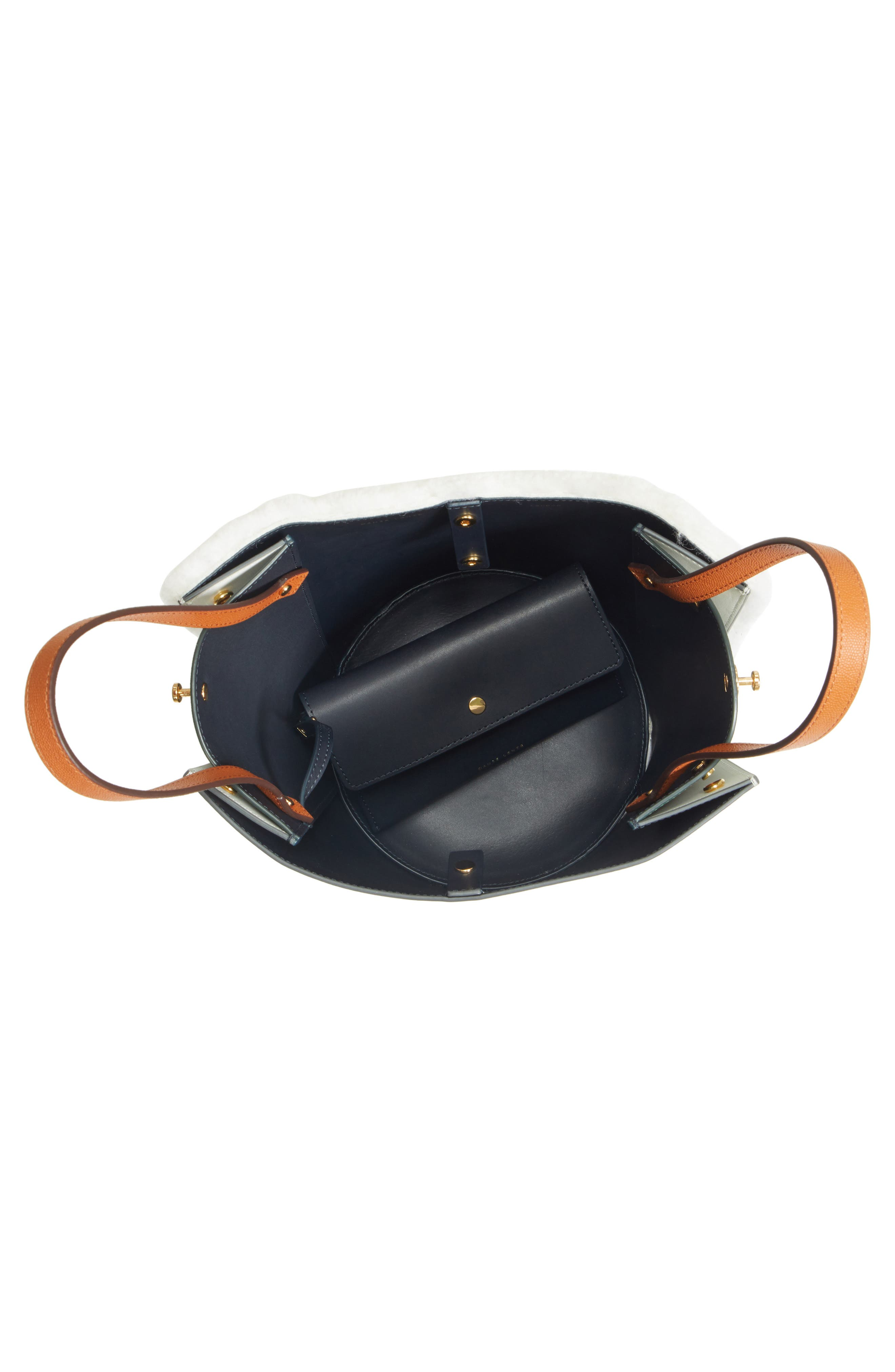 Mini Lorna Leather Bucket Bag,                             Alternate thumbnail 4, color,                             100