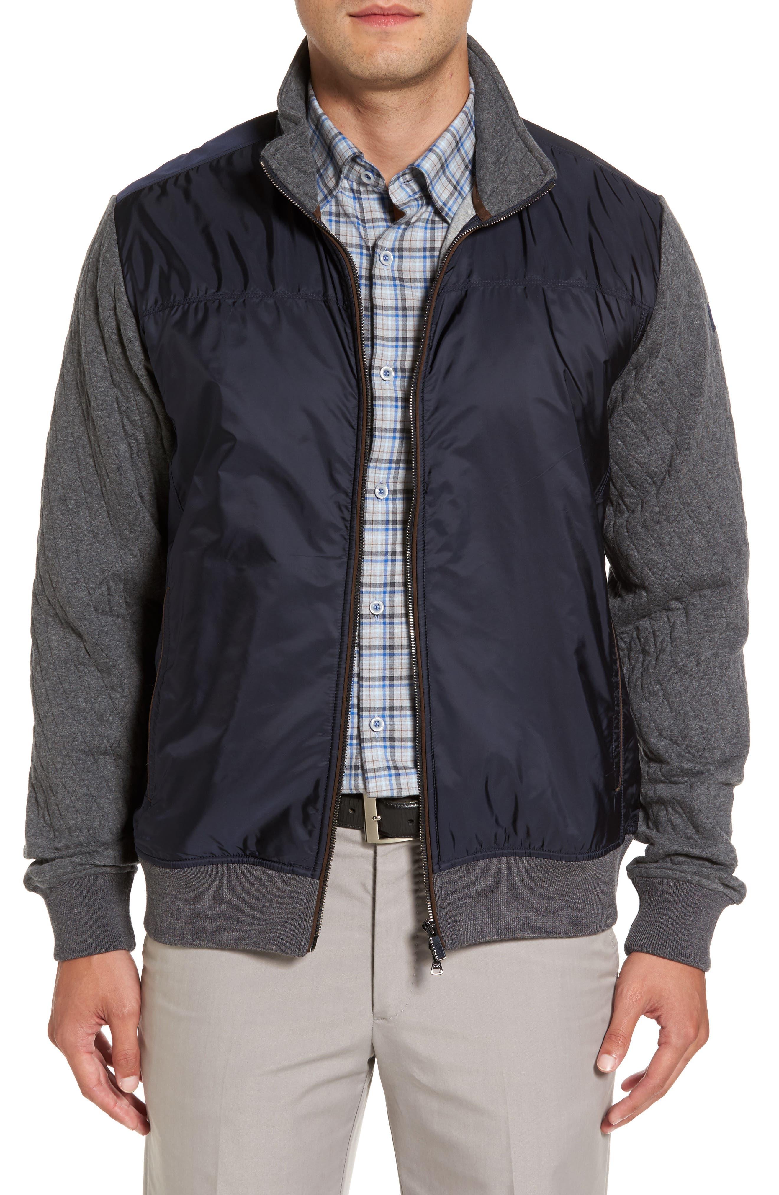 Paul&Shark Colorblock Mixed Media Zip Front Jacket,                         Main,                         color, 400