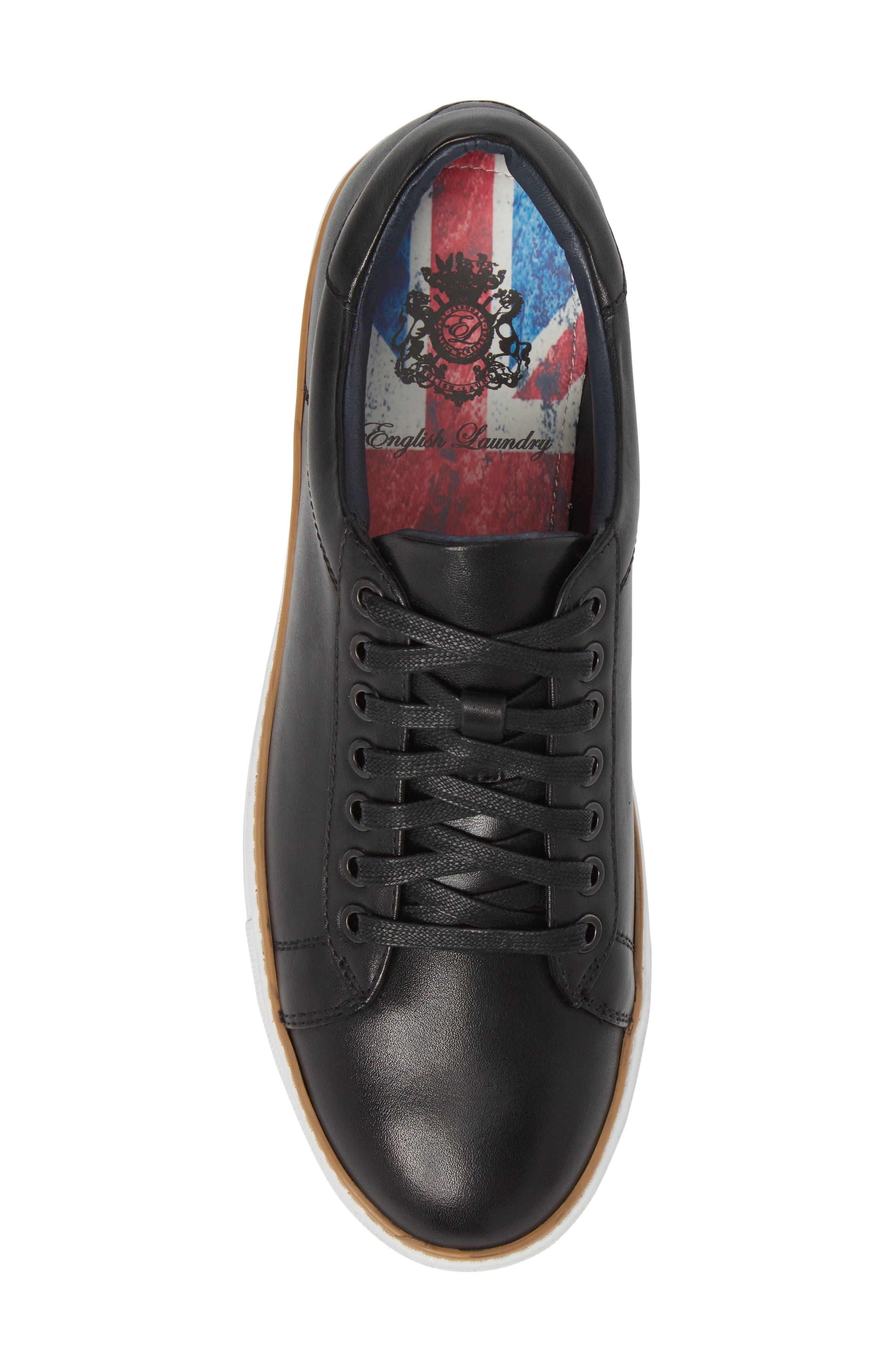 Juniper Low Top Sneaker,                             Alternate thumbnail 5, color,                             BLACK LEATHER